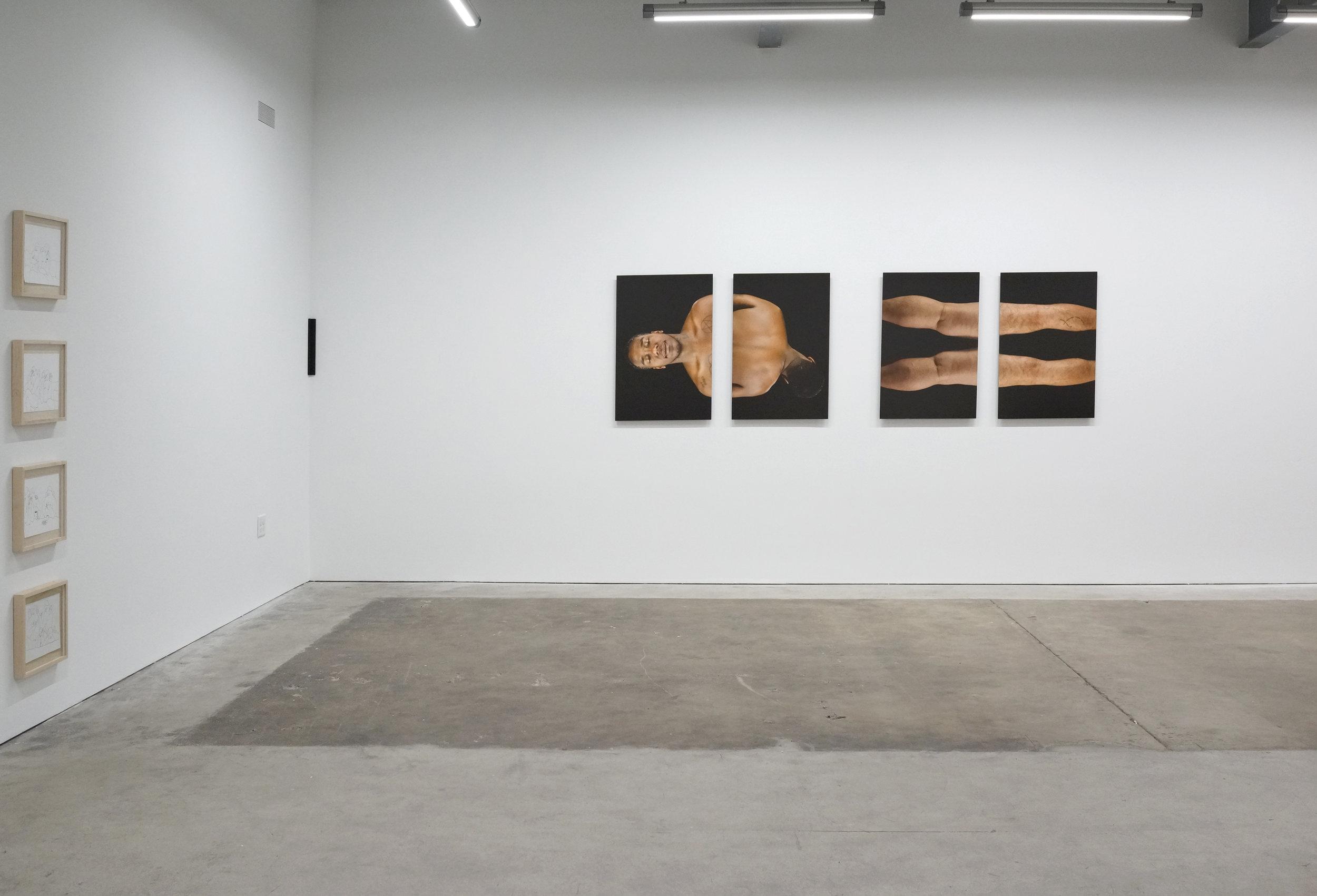 Installation view, L — Craig Calderwood, corner — Gregory Kaplowitz, R — Evie Leder