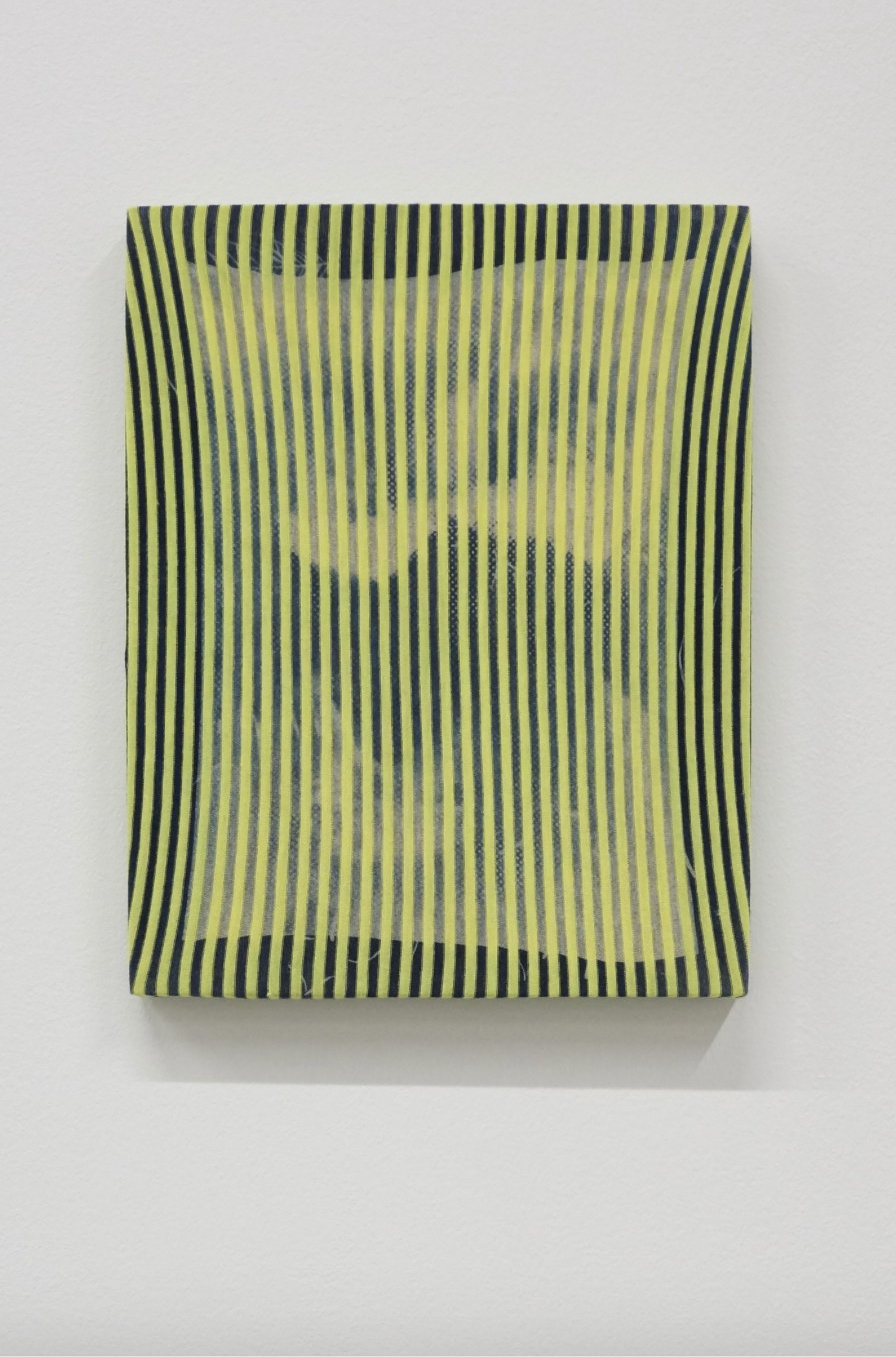 Gregory Kaplowitz, Portal, 2015 Cyanotype emulsion on cotton jersey fabric over cradled birch wood panel, 11 x 14 x 1 inches