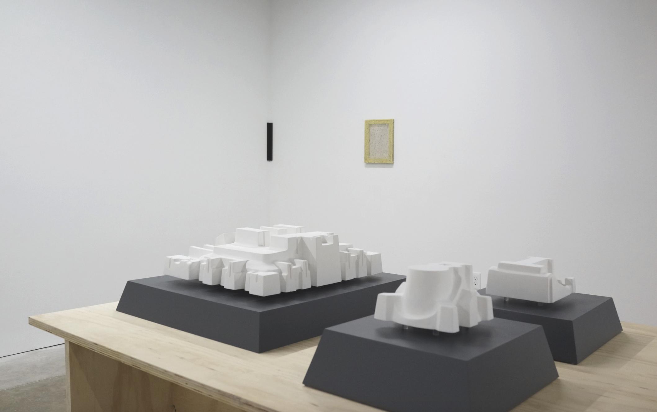 Installation view, foreground — Masako Miyazaki, wall — Gregory Kaplowitz