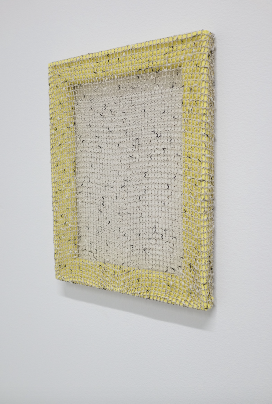 Gregory Kaplowitz, Portal (Net), 2018 Flashe, mesh fabric, and wood supports 11 x 14 x 1 inches
