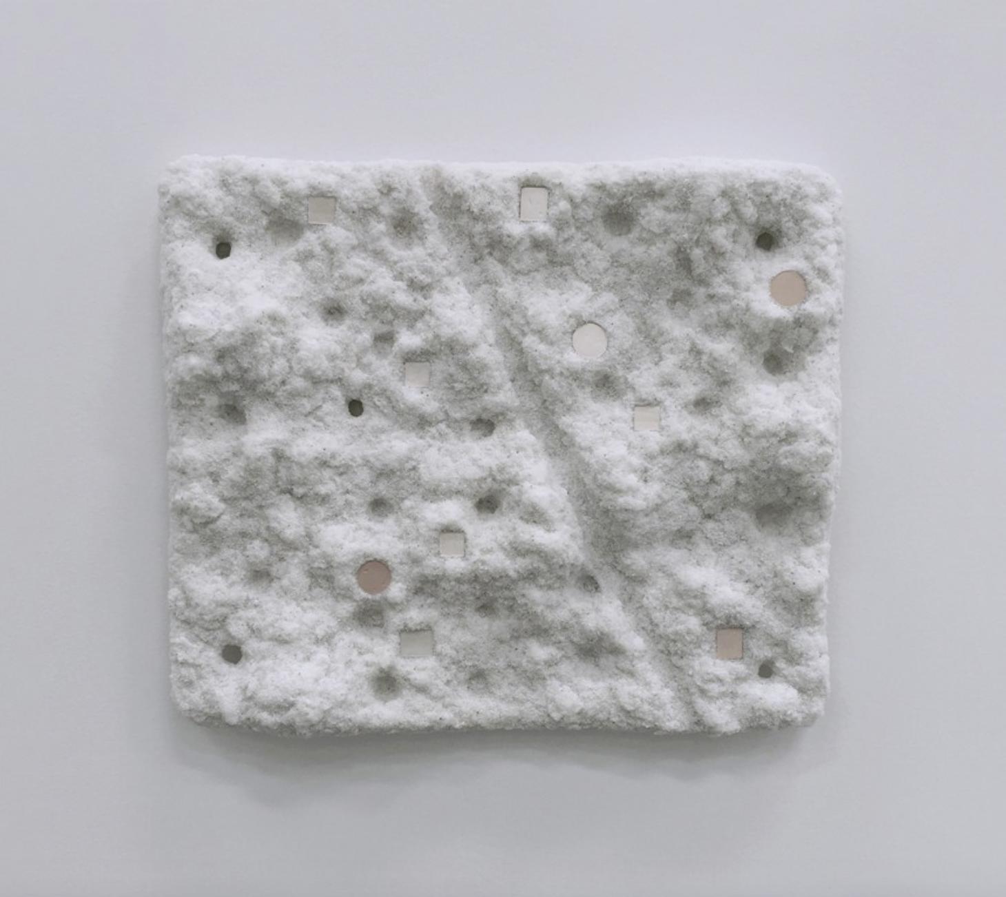 "Sandra Ono, Untitled (1604), 2016. Sand, glue and eyeshadow, 20"" x 24"""