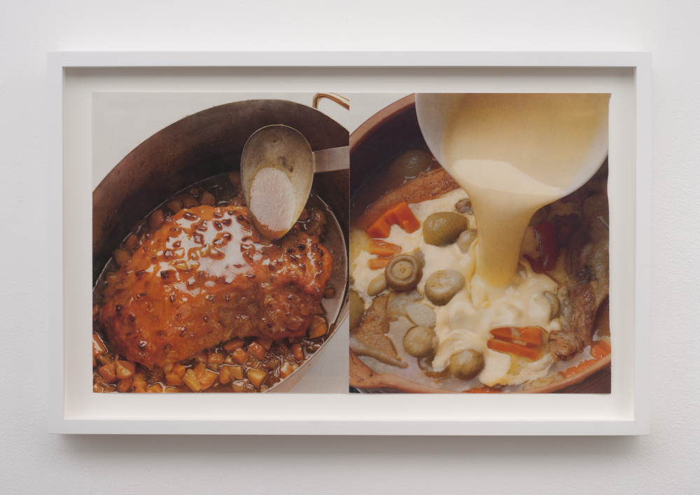 "Brion Nuda Rosch, Untitled (cooking infinity), 2013. Found book page on found book page 15"" x 22"""