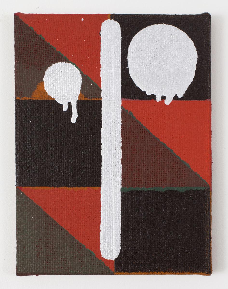 "Joshua Abelow, Untitled (JAP2872), Oil on burlap 12"" × 9"""