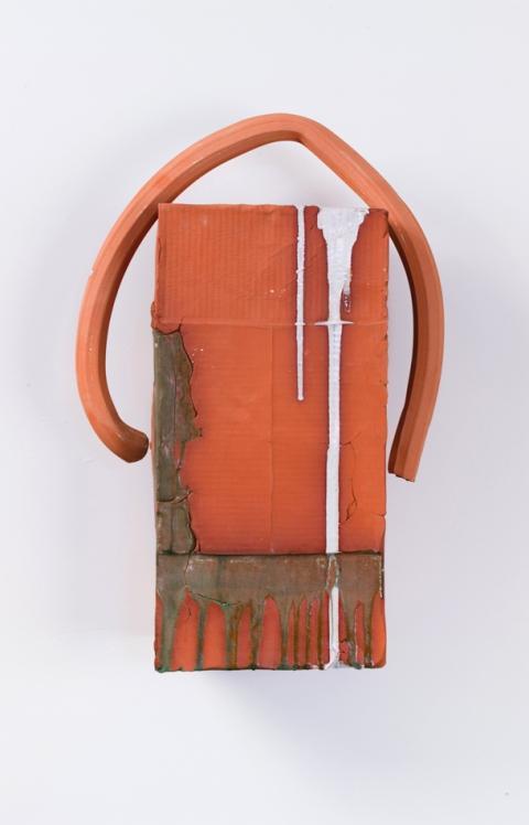 Nicole Cherubini, White Drip with Arch, 2012 Terra-cotta, glaze, pine, acrylic