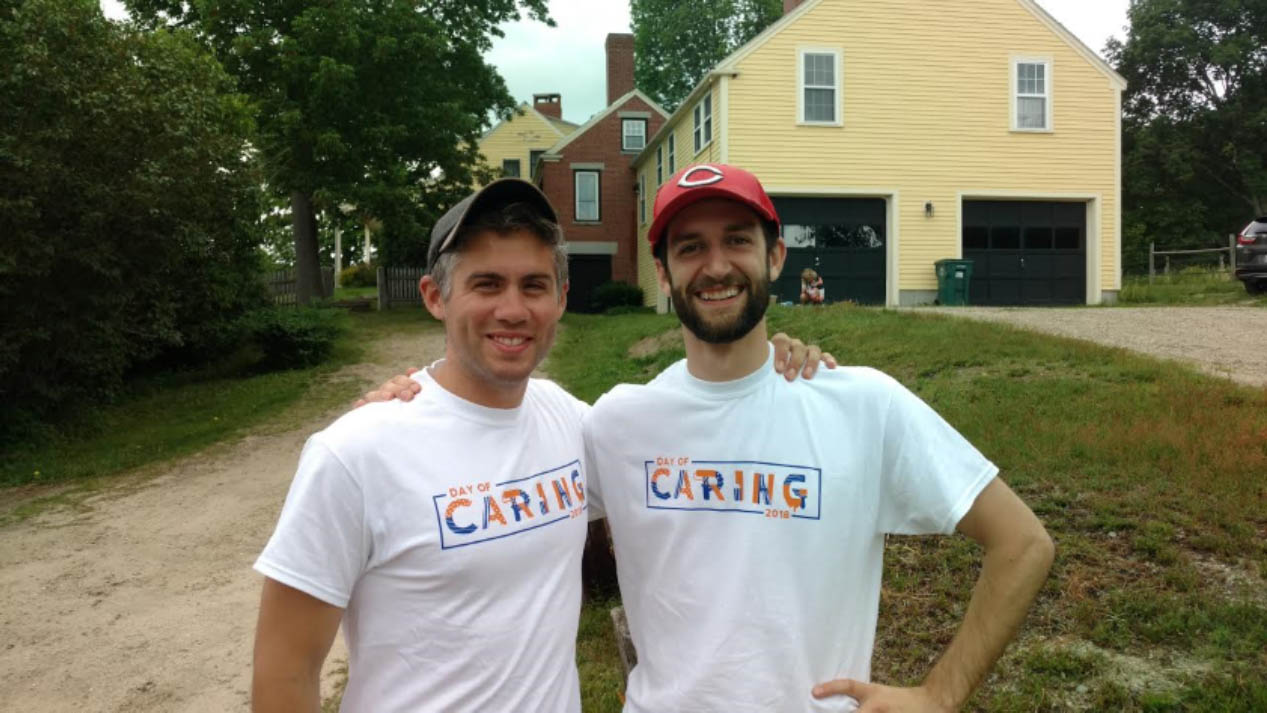 The Ecology School student alumni and current Saco Biddeford Savings Bank employees Chad Boucher and John Mondor at the 2018 United Way Day of Caring.