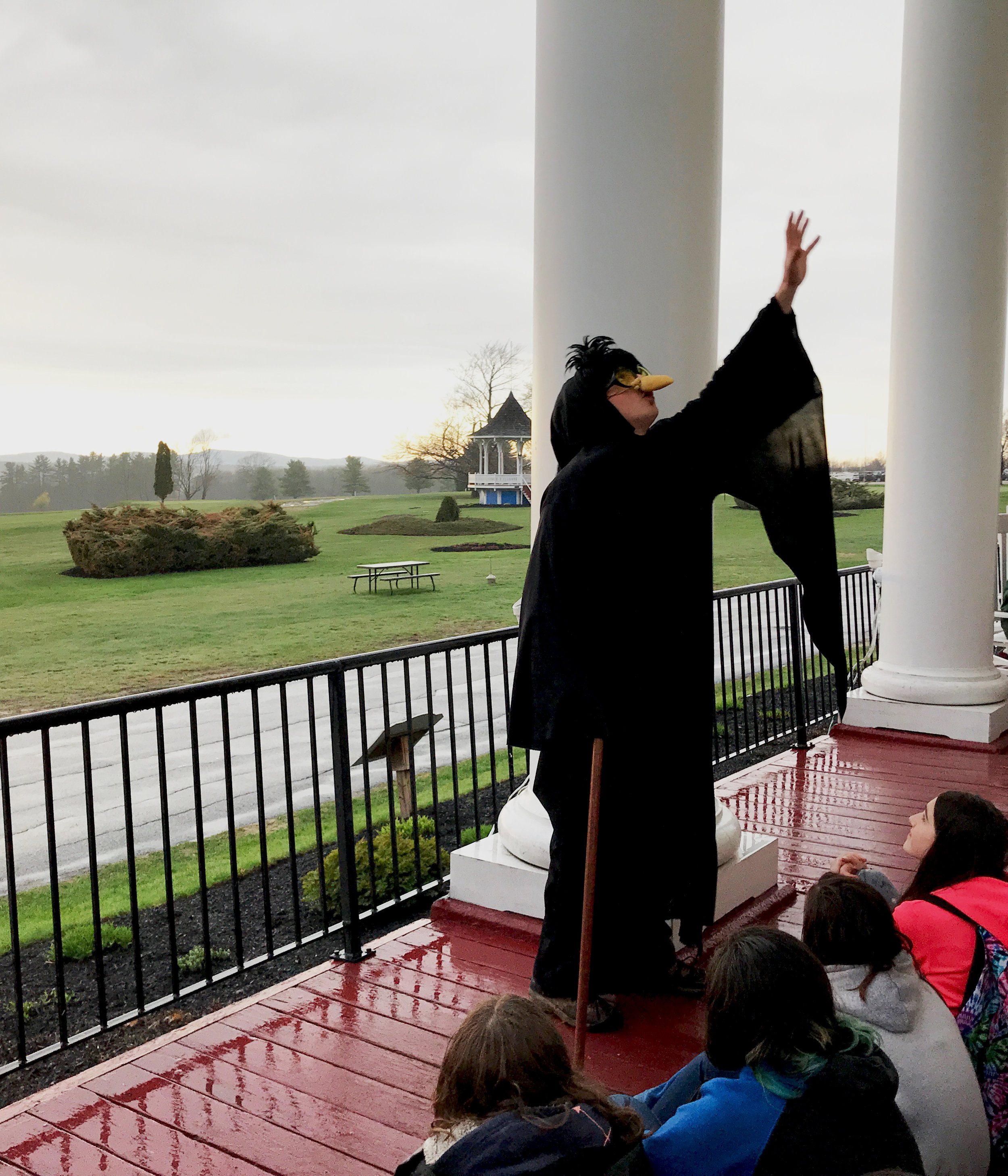 A preview (a pre-lesson look at what students are about to encounter on their lesson) takes place on the porch of The Maine Inn at the Poland Spring Resort, overlooking Maine's western foothills.
