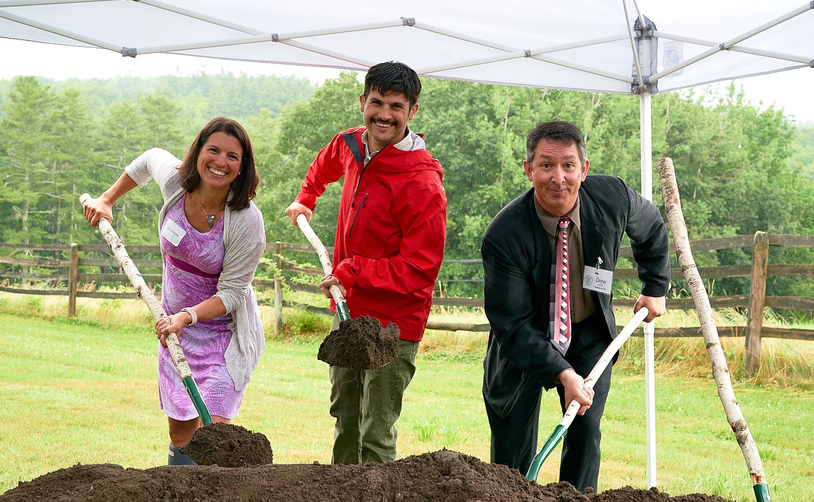 Jessica Keenan, Joel Alex, and Drew Dumsch at River Bend Farm's Groundbreaking Ceremony in July 2019.