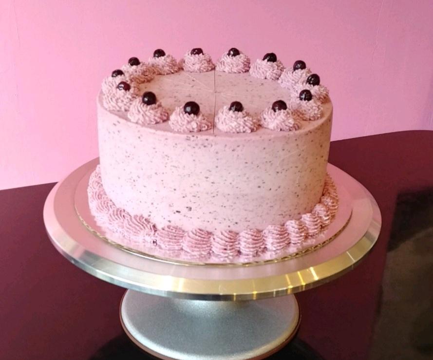 Lemon Blueberry - Lemon Cake, Filled with Blueberry Compote, Topped with Blueberry Frosting & Blueberries on Top.