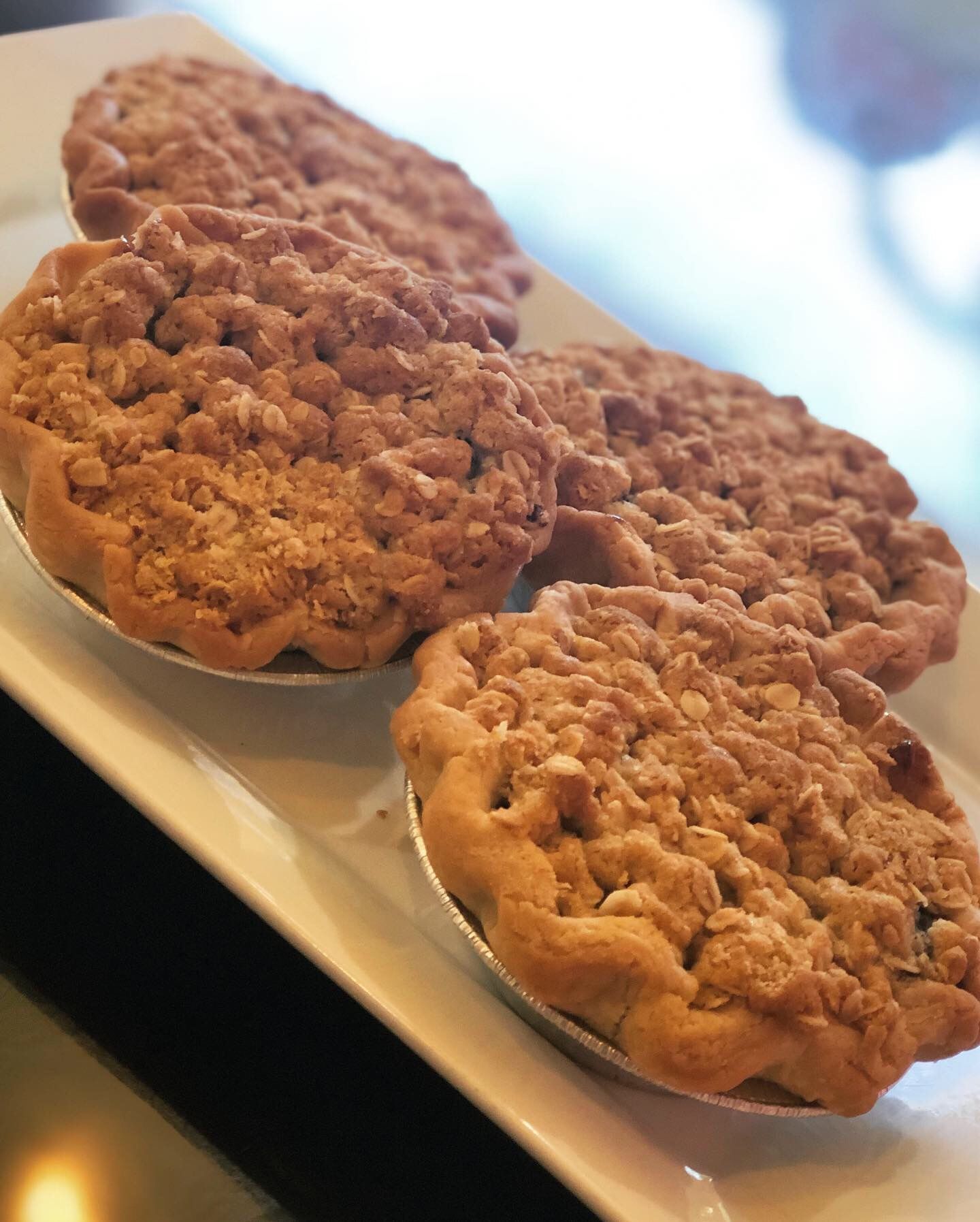 Mini Pies    Blueberry, Apple, Ginger Peach & Cherry    Streusel *Pictured Above or Double Crust are Available