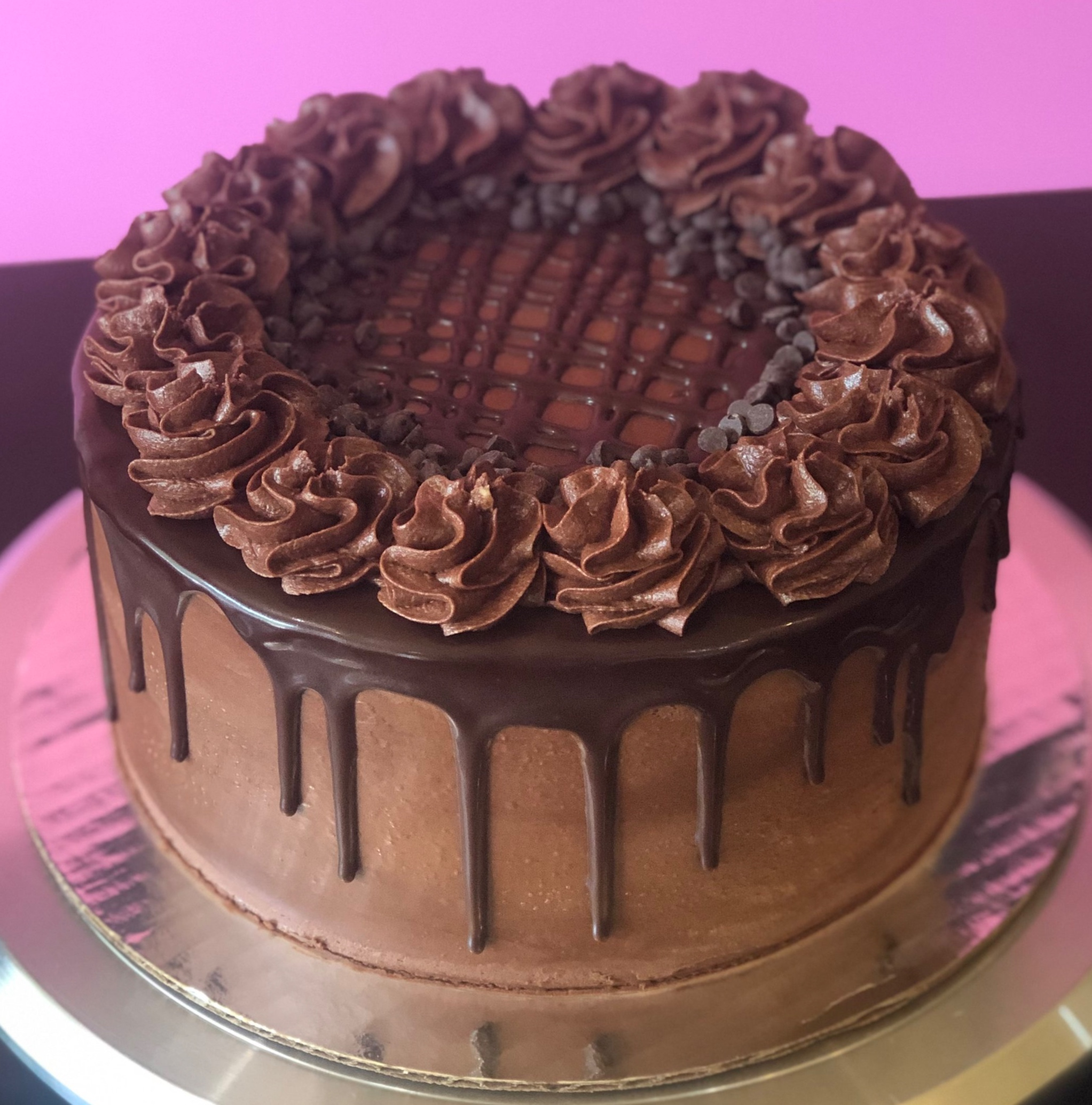 Death By Chocolate - Chocolate Cake, Filled with Ganache, Topped with Chocolate Frosting, Ganache & Chocolate Chips
