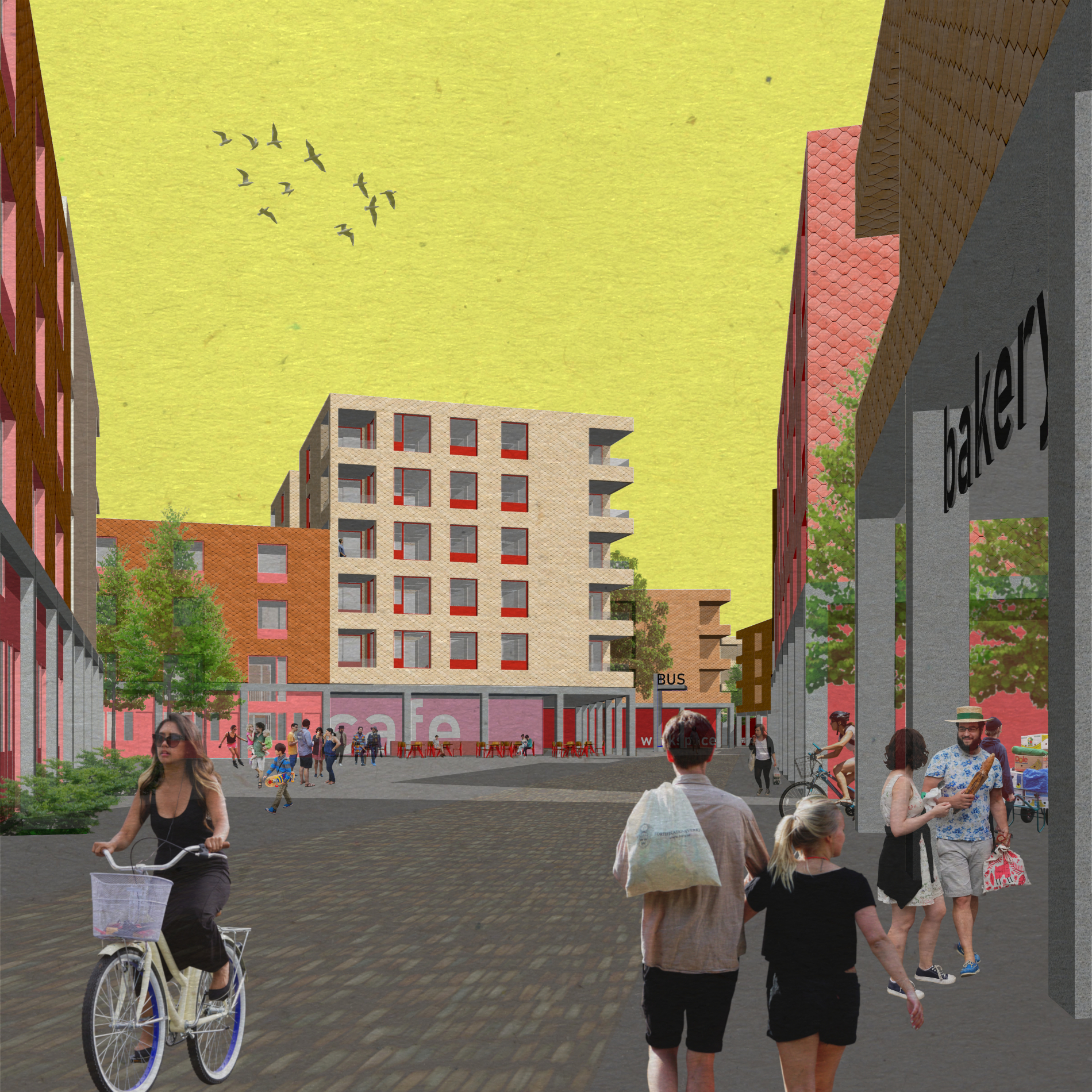 public space designed for people, not cars. mixed uses create a walkable community