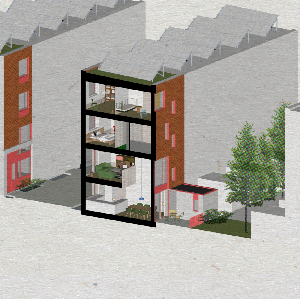 townhouses with double-height space look onto communal playable space