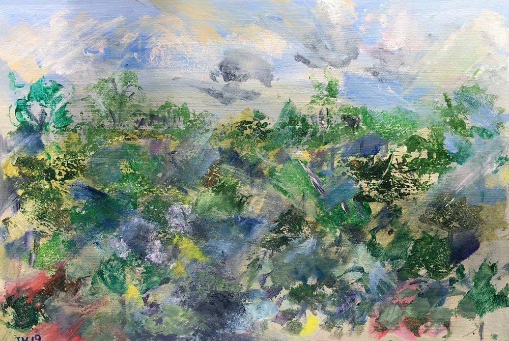 Johanna McWeeney 'Landscapes of Childhood'  Acrylic on MDF board 41cm x 28cm