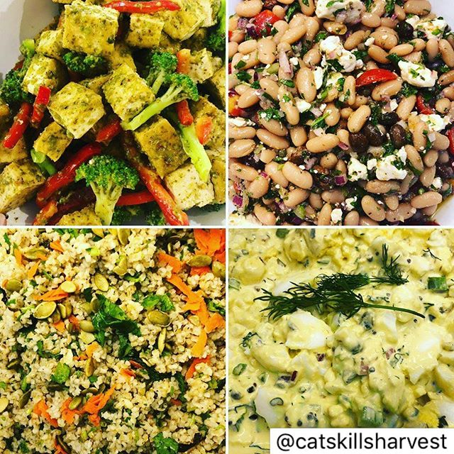 Check out these amazing options from @catskillsharvest- 🌿 @ithacasoy tofu broccoli & red bell pepper salad with a basil lime dressing. 🌿 Tabouleh with Parsley, Mint, Garlic & Lemon 🌿 Savory Egg Salad with Capers & Dill 🌿 Curried Egg Salad 🌿 @starroutefarm cannellini bean salad with @livelyrundairy feta! —————————————— SUMMER HOURS: Thurs 11-5, Fri & Sat 10-6, Sun & Mon 11-5 | 27905 State Highway 28, Andes