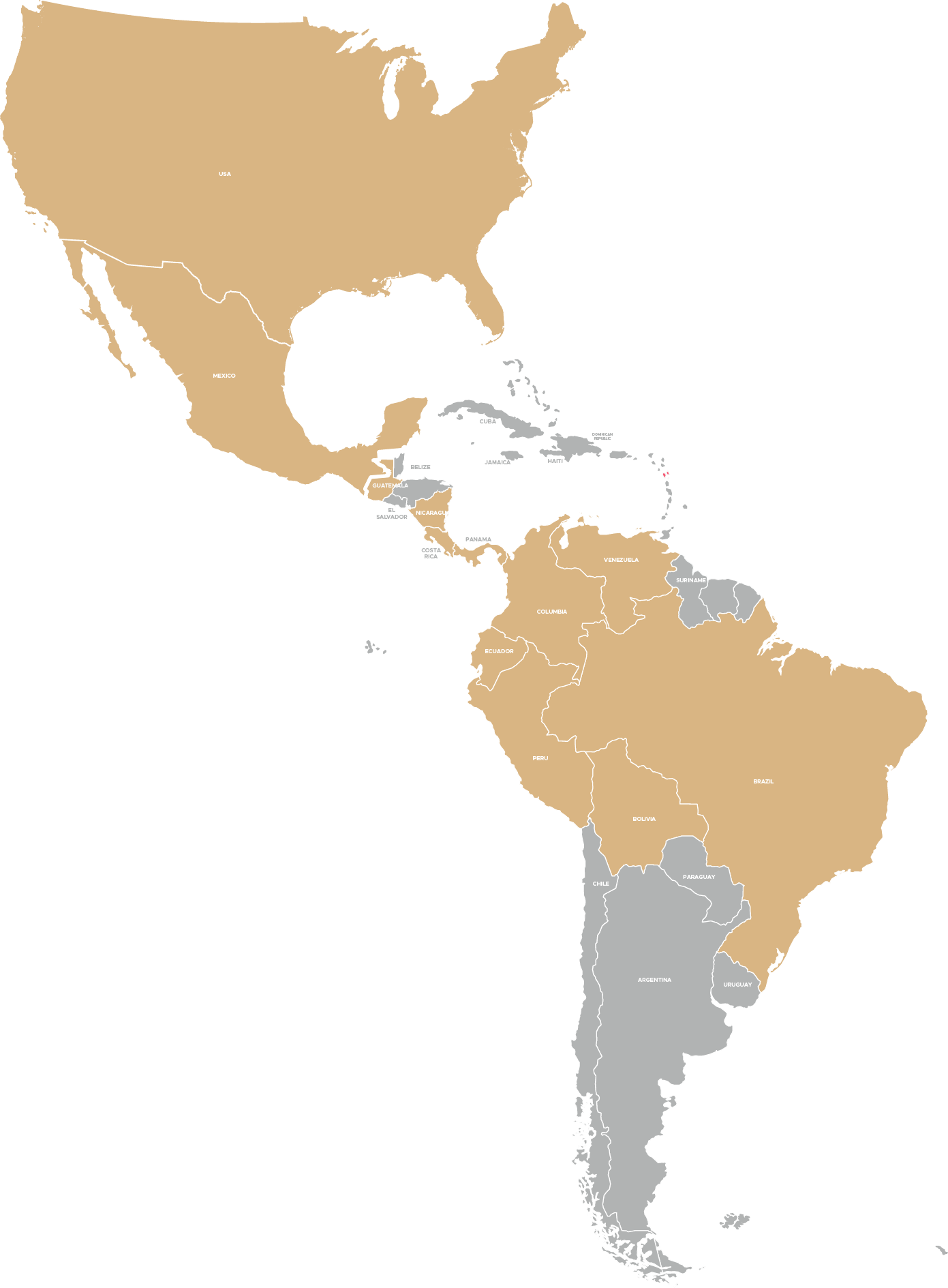 Countries covered by our production network. - Currently, we rely on trusted production professionals in the US, Mexico, Guatemala, Nicaragua, Panama, Costa Rica, Venezuela, Colombia, Ecuador, Peru, Bolivia and Brazil. Meet some of our production network members below or use the form to get-in-touch and learn how to collaborate with us on future productions!
