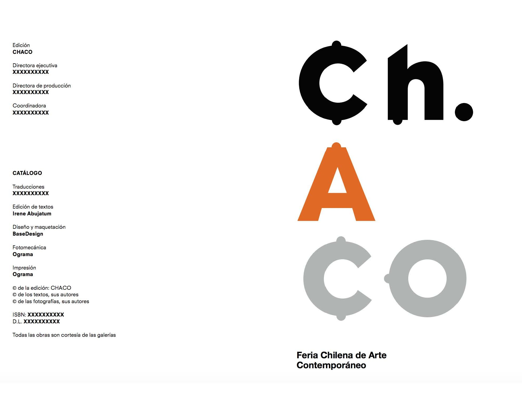"""2010: Catálogo """"Ch.aco"""", Chile Arte Contemporáneo. Santiago, Chile"""
