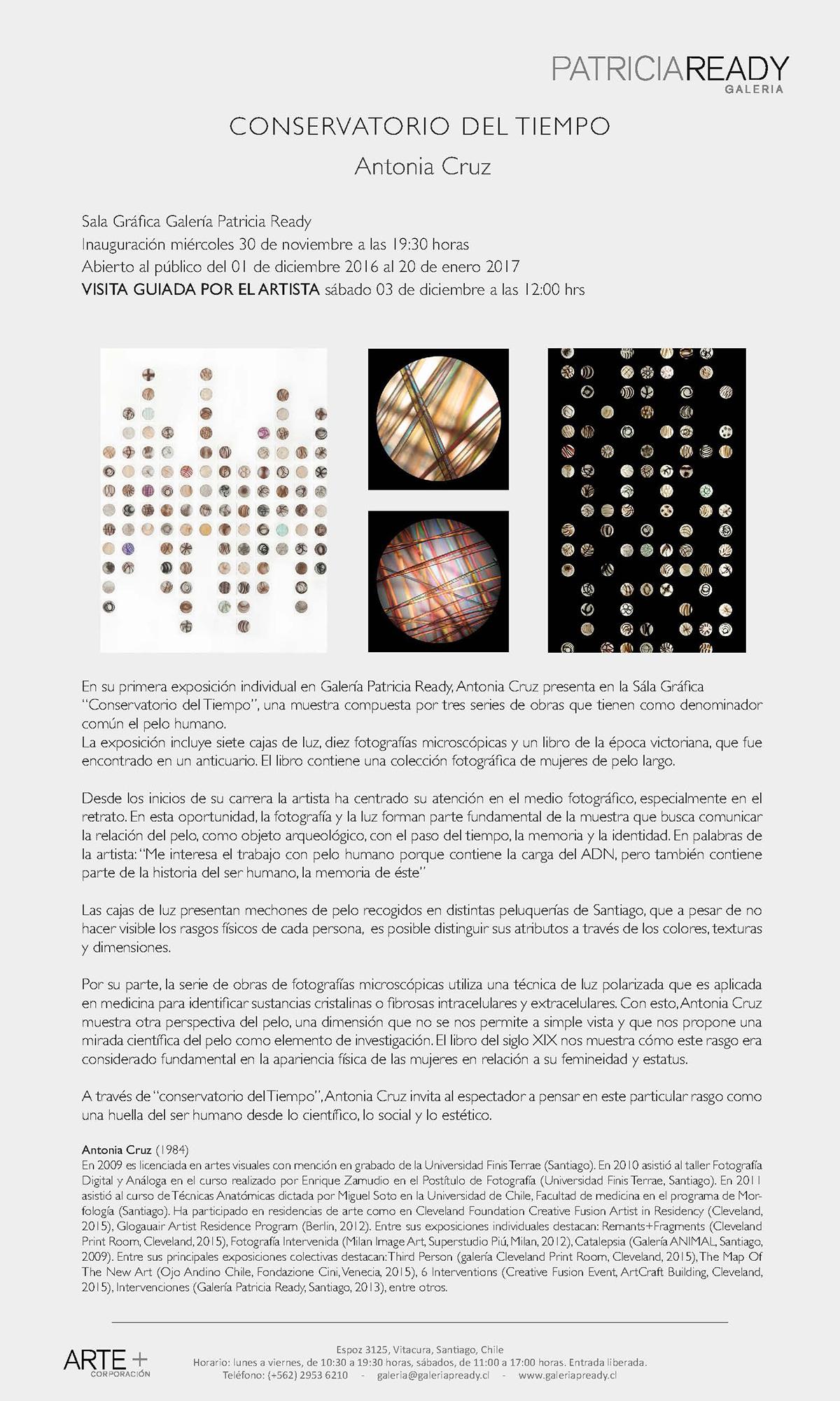 Exposición Conservatorio del Tiempo, Comunicado de prensa, galería Patricia Ready