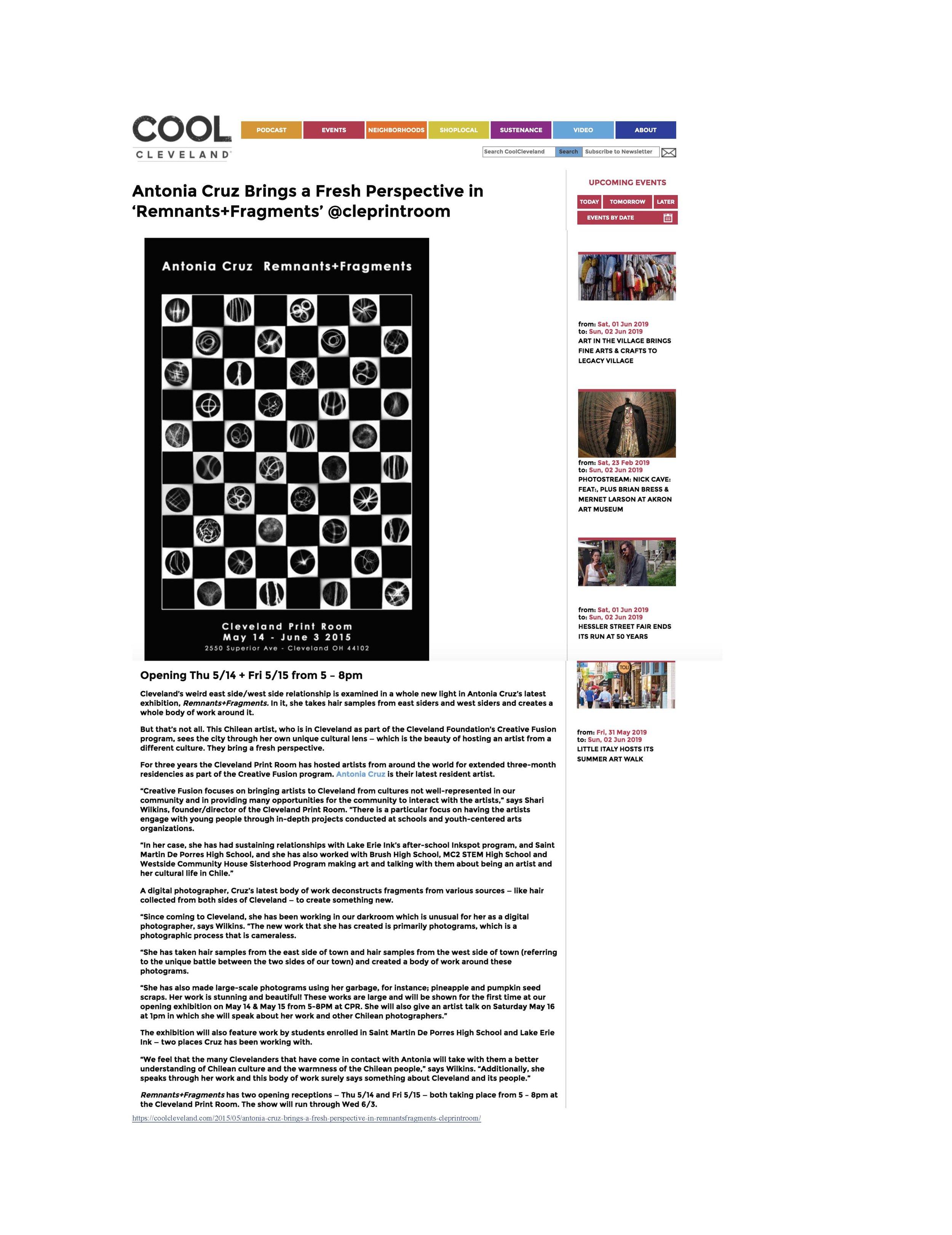 Exposición Remandts and Fragments, Cool Cleveland, Ohio, Estados Unidos, .pdf