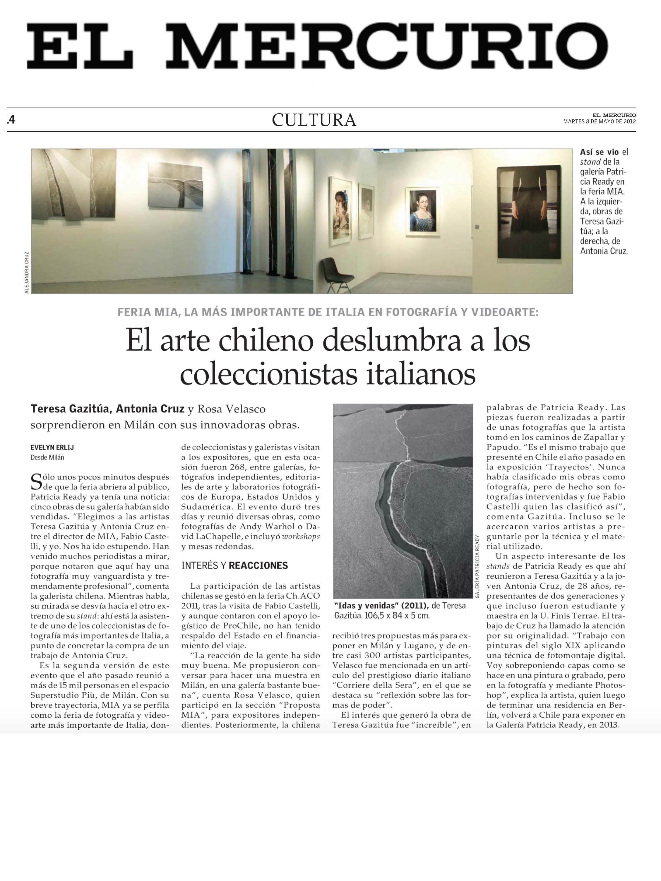 Exposición Fotografía Intervenida, Mia Milan Art Fair, El Merrcurio, Cultura.