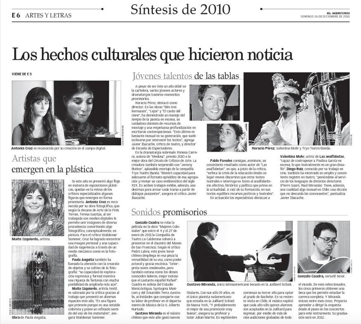 Sintesís 2010, El Mercurio, Artes y Letras.