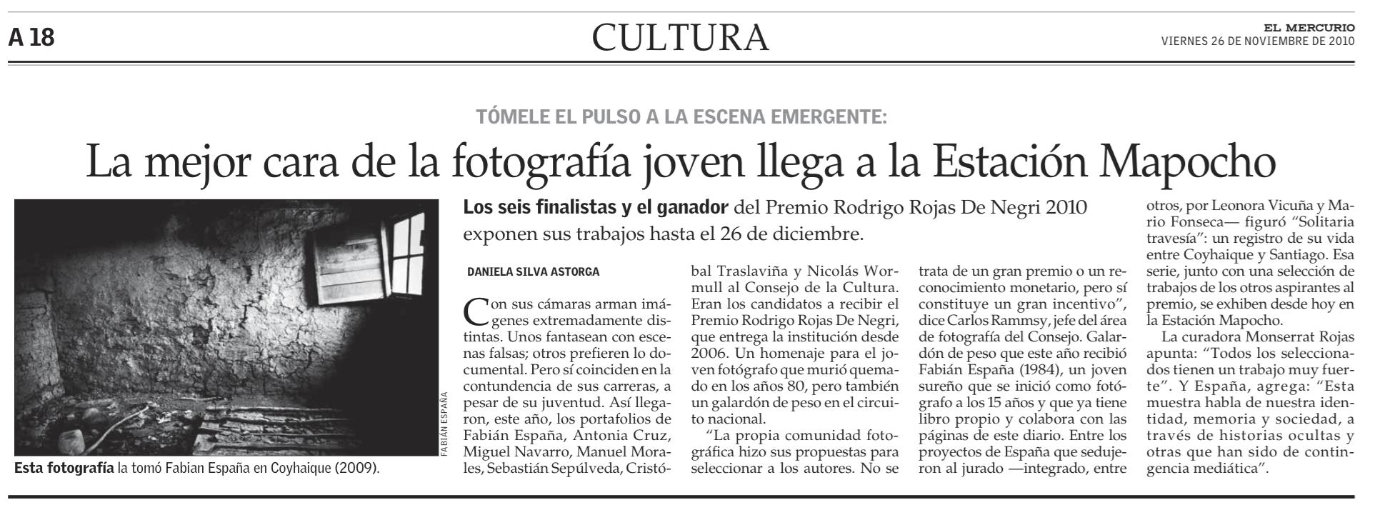 """Exposición premio """"Rodrigo Rojas Denegri"""", El Mercurio, Cultura."""