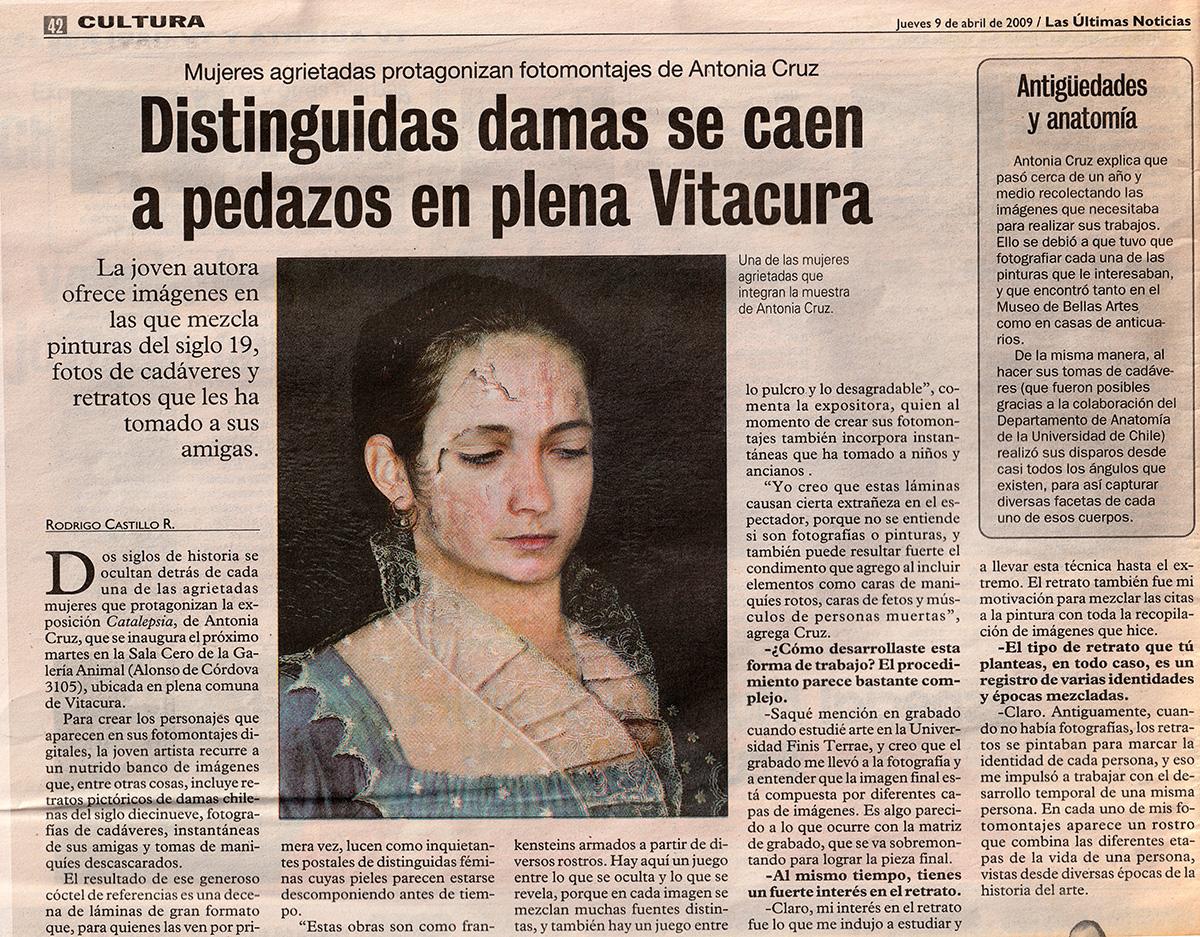 Exposición Catalepsia, Las Ultimas Noticias, Cultura