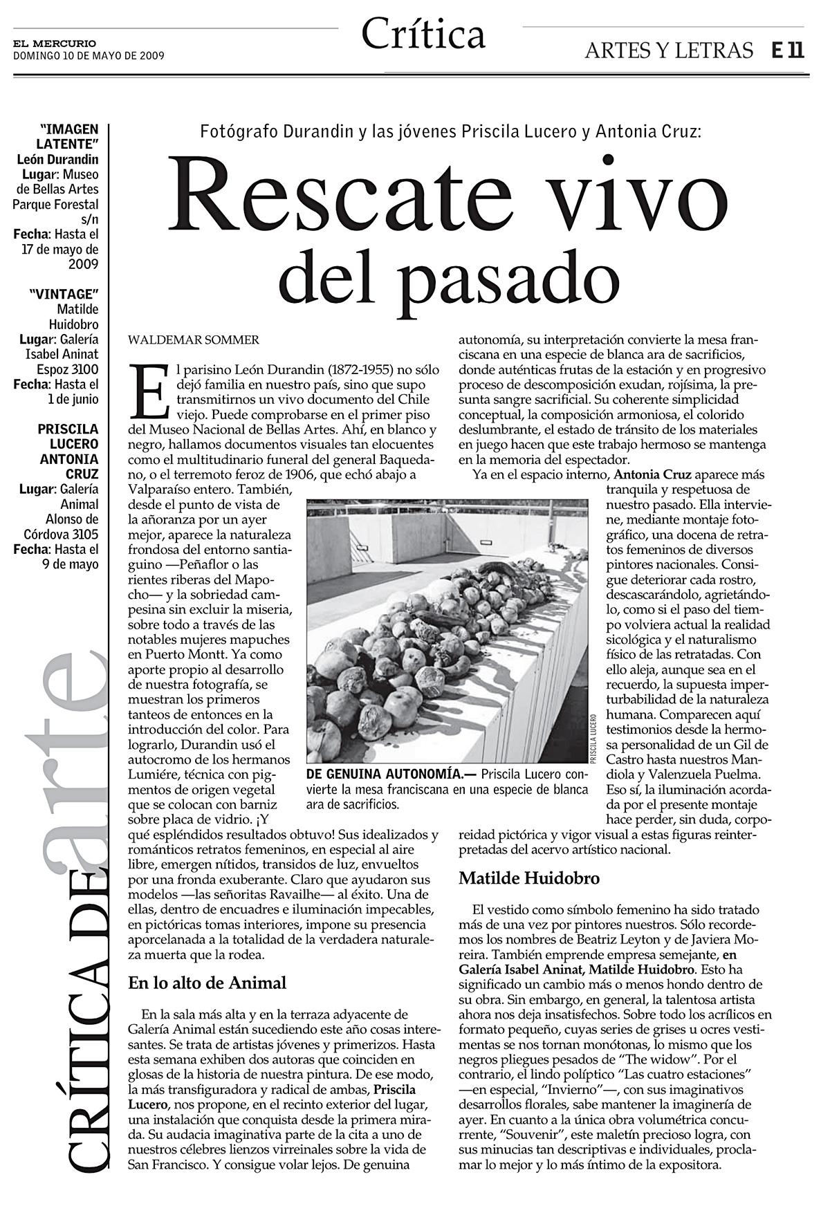 Exposición Catalepsia, El Mercurio, Artes y Letras