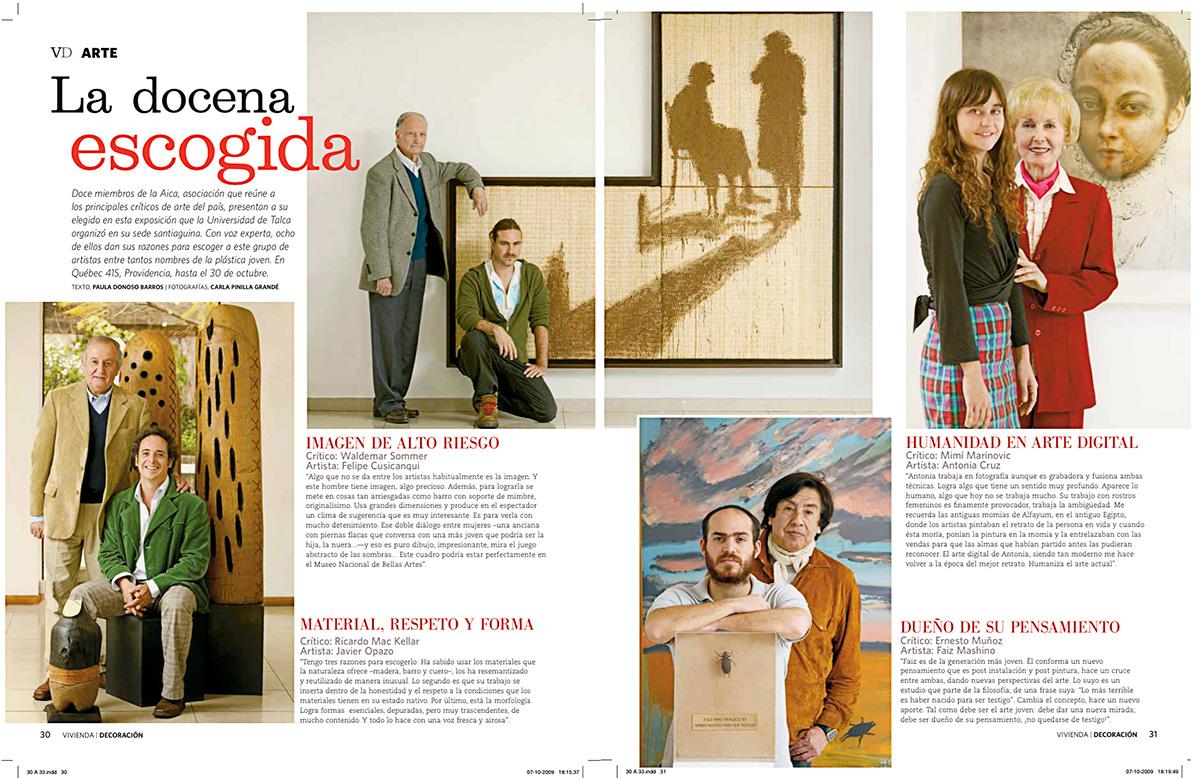 "Exposición ""12 x 12 "", selección realizada por Aica, El Mercurio, Revista VD"