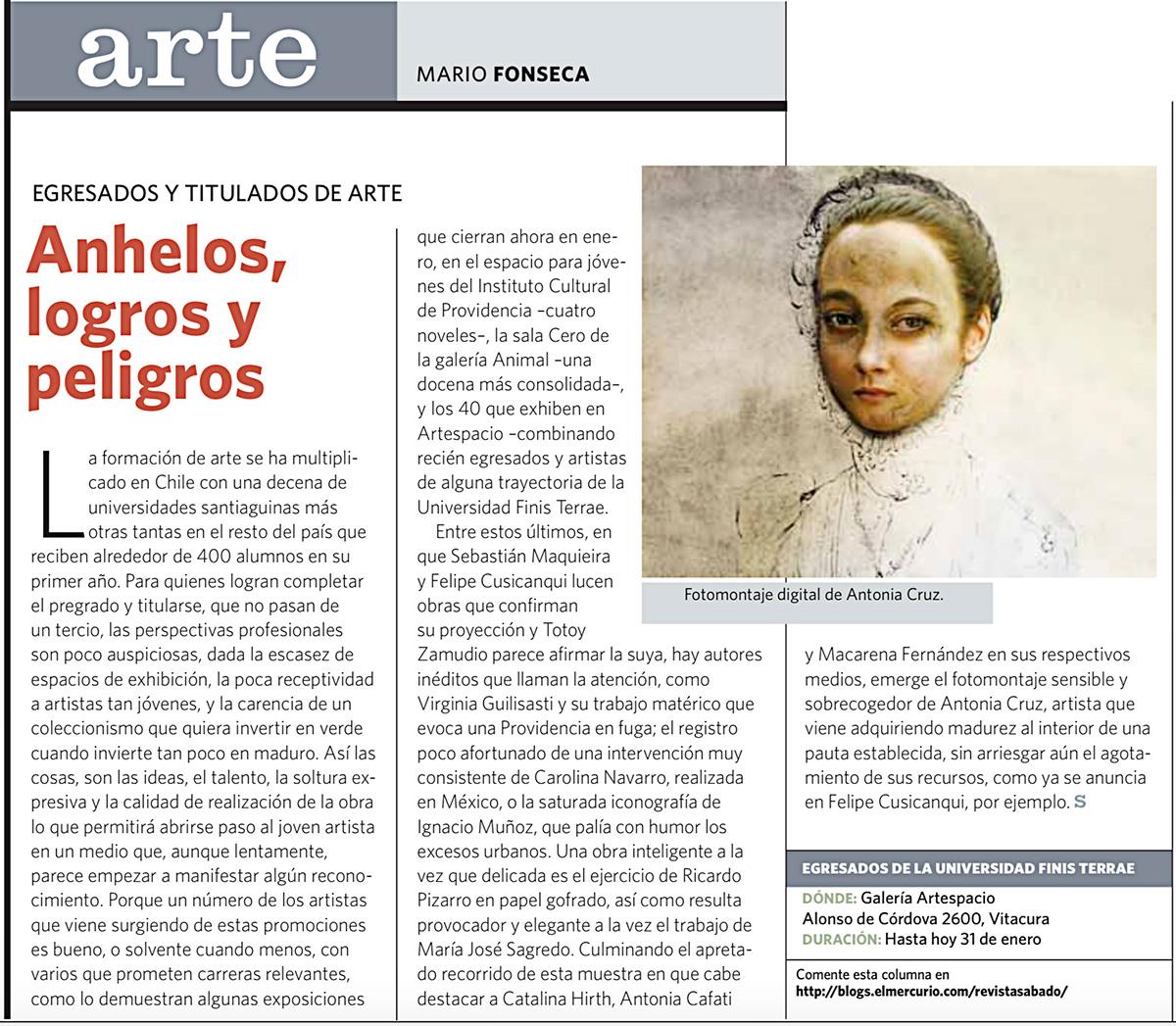 """Exposición """"Territorios de papel y Escenas Cotidianas"""", El Mercurio, Revista Sabado"""