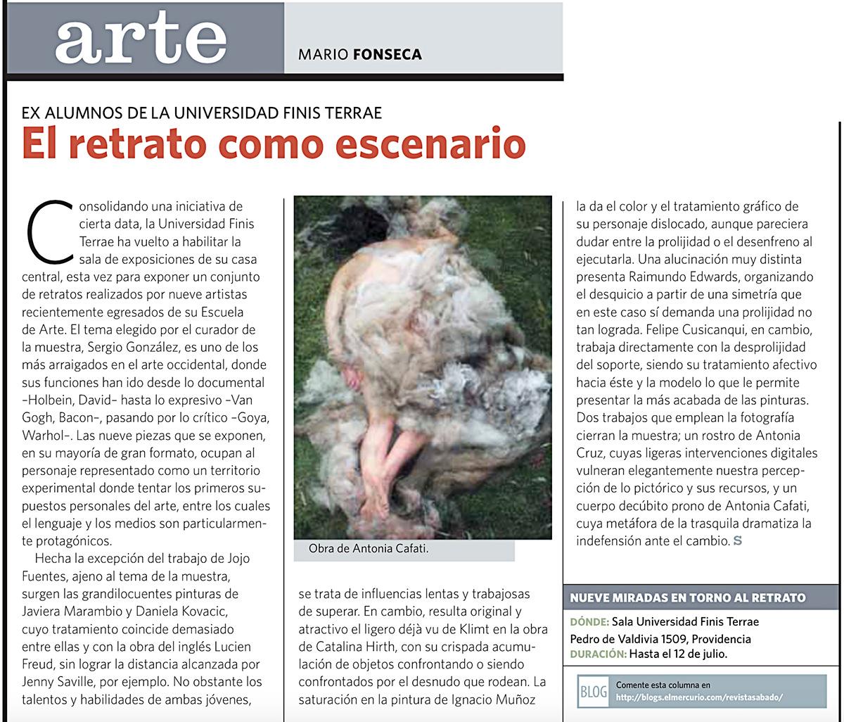 """Exposición Trans """"9 Miradas entorno al retrato"""", El Mercurio, Revista Sabado"""