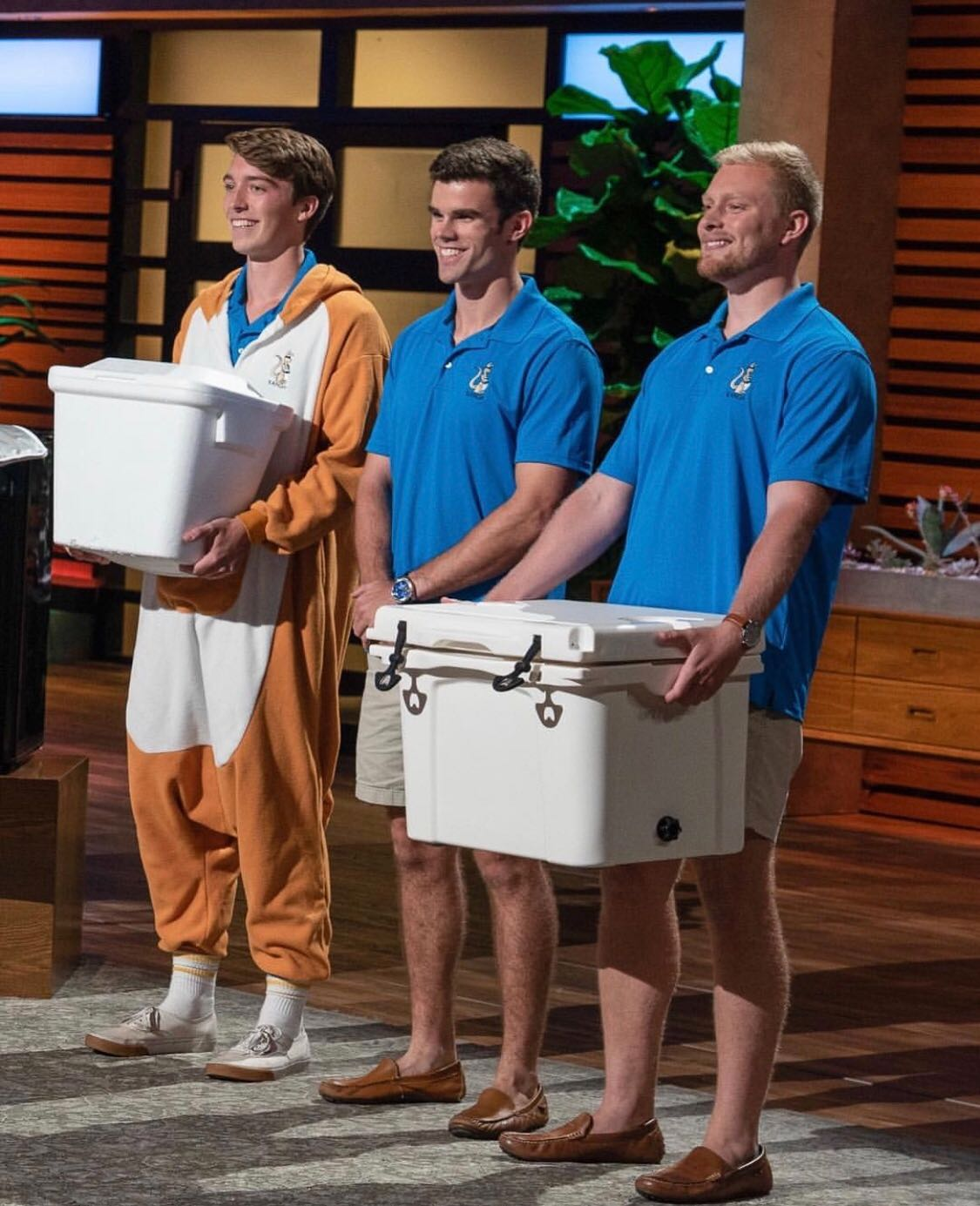 Photo (left to right): Teddy Giard, Logan LaMance, and Austin Maxwell pitching their company, Kanga Coolers, on Shark Tank.