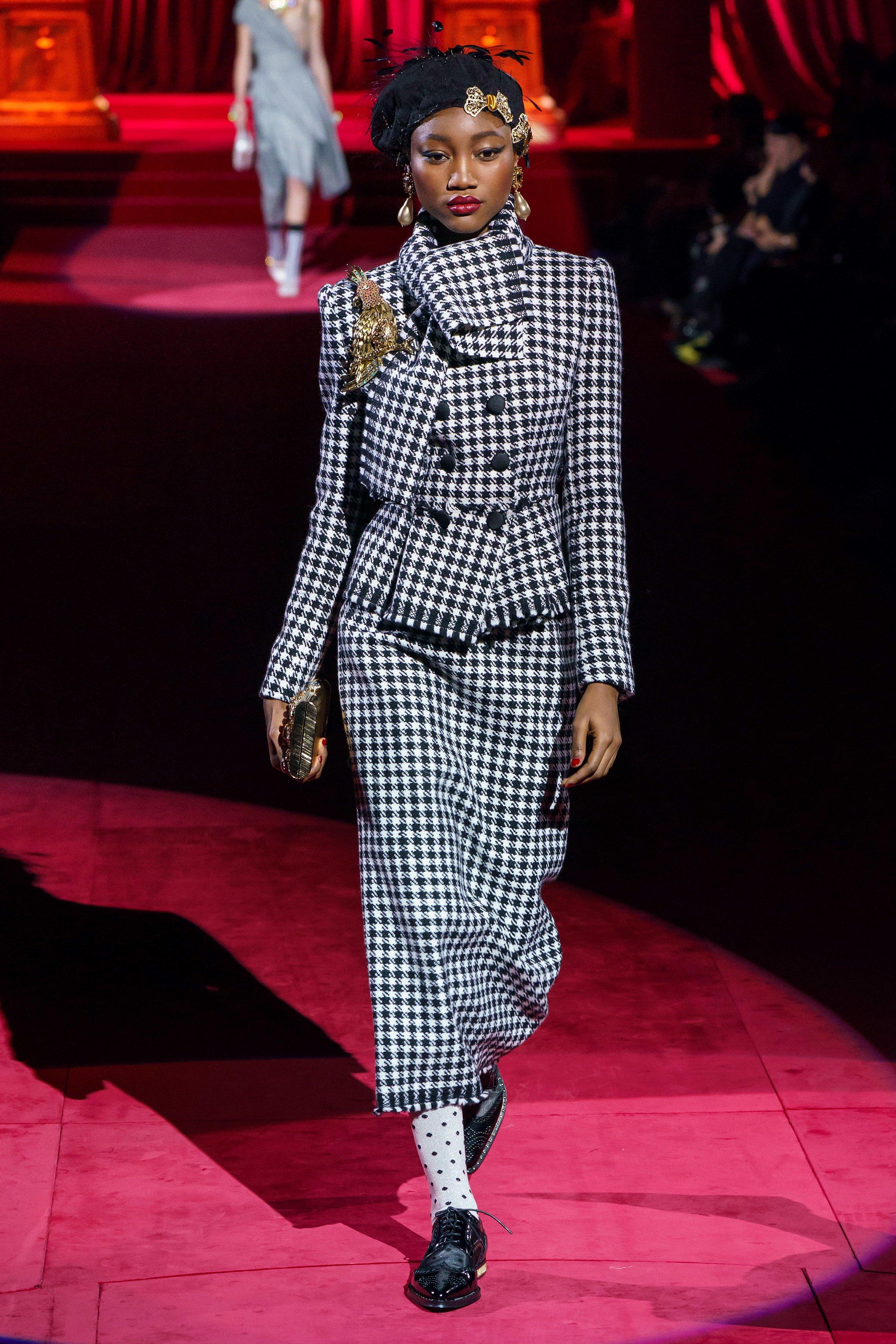 Eniola Abioro walking for Dolce and Gabbana Fall 2019 Ready-to-Wear. Photo: Alessandro Lucioni / Gorunway.com