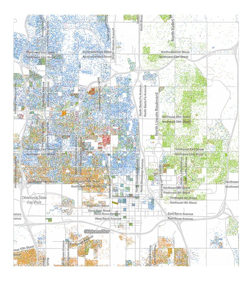 A racial dot map of Oklahoma City shows that we still have stark racial divisions in our city.