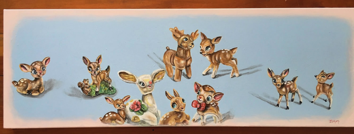 Artwork, ft vintage ornaments… - Whimsical, soft pastel palette and super-sweet, this has sold but happy to do a commission.
