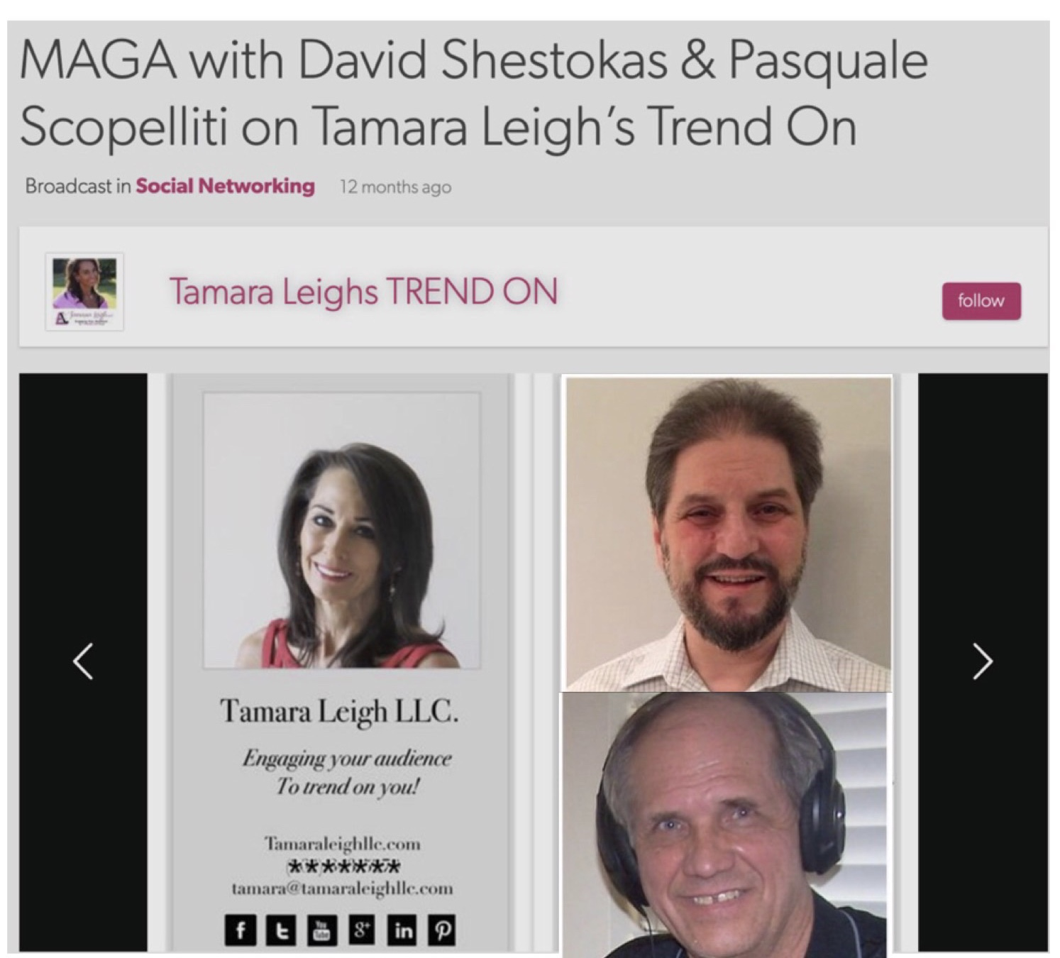 Tamara Leigh's Trend On - with Constitutional Expert & Attorney David Shestokasand Pasquale Scopelliti