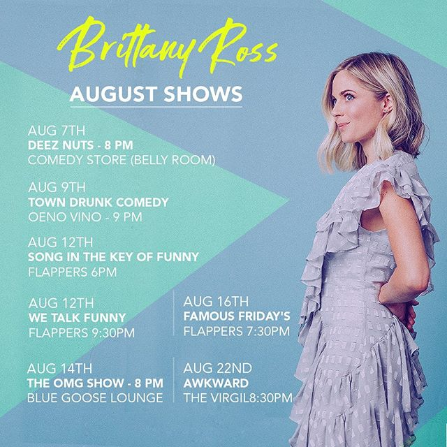 Stand Up shows for the next month. If I don't see you at at least one, you're dead to me...✨