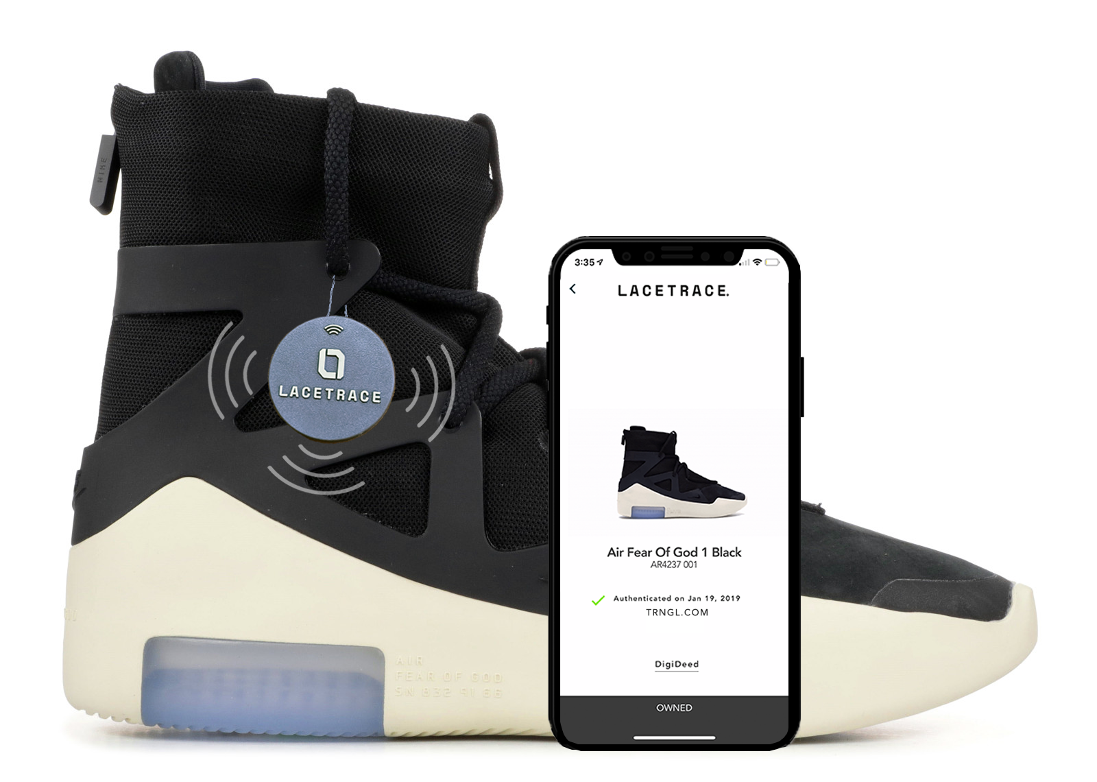Claim, Trade, Transfer. - users can scan LaceTrace tags to claim ownership of sneakers that they purchase. A user can transfer ownership to anyone else on the LaceTrace network.