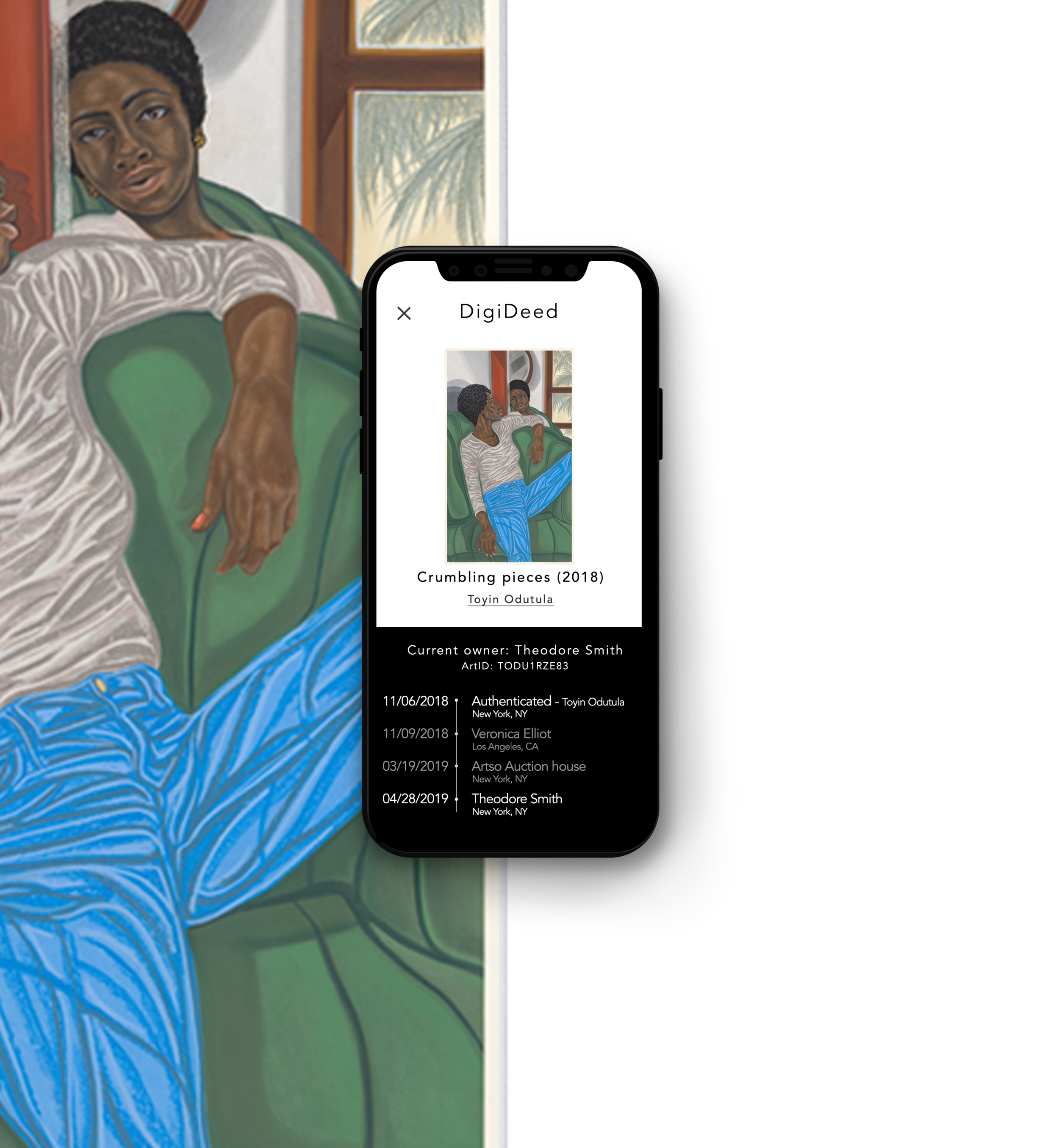 Invisible to the eye. - Hidden behind the canvas lives DigiDeed; a razor thin, layer of tech which allows collectors to confirm authenticity and view a ledger of ownership, all with their smartphone.get the app.