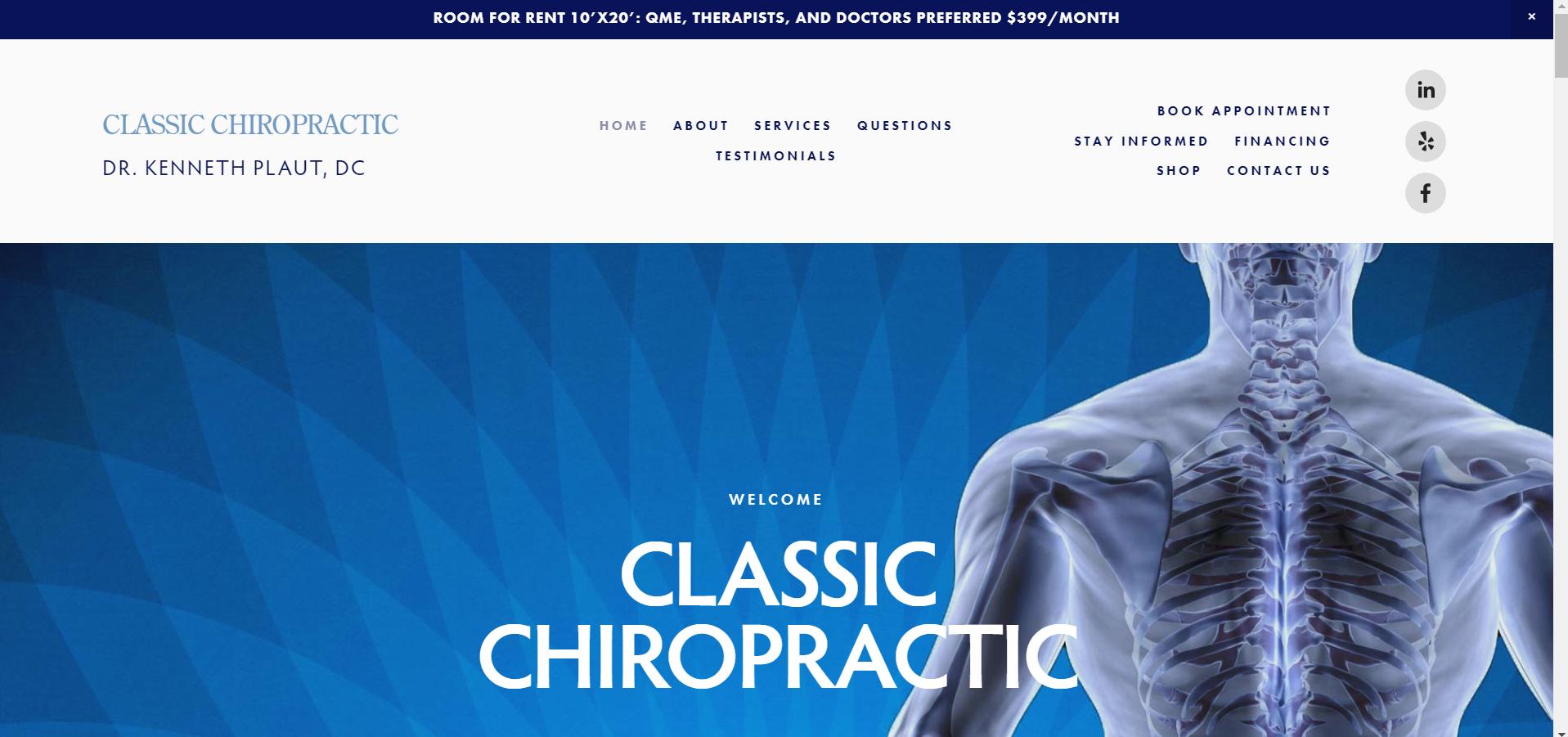 Classic Chiropractic - Healthcare Website