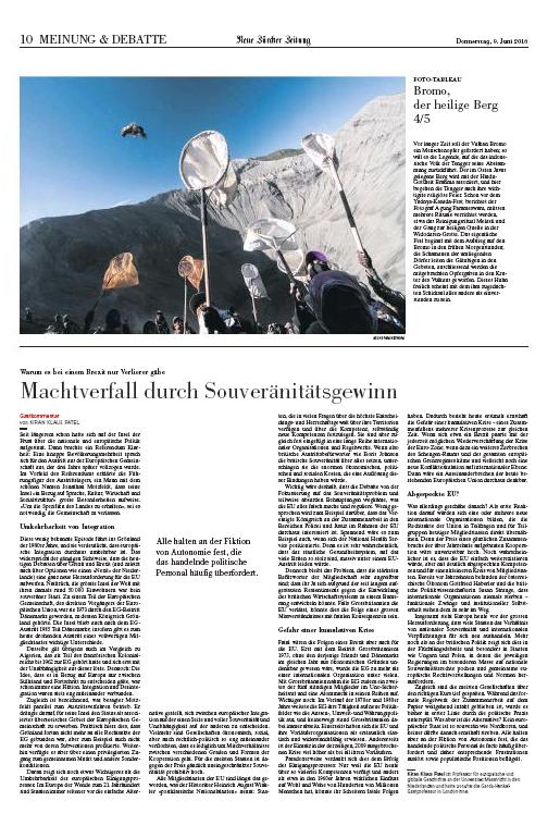 The Neue Zürcher Zeitung, Swiss, 2016