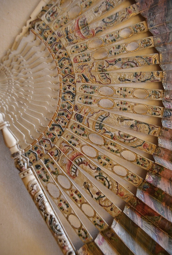 Details of fan sticks, painted and gilded ivory c. 1760-1770