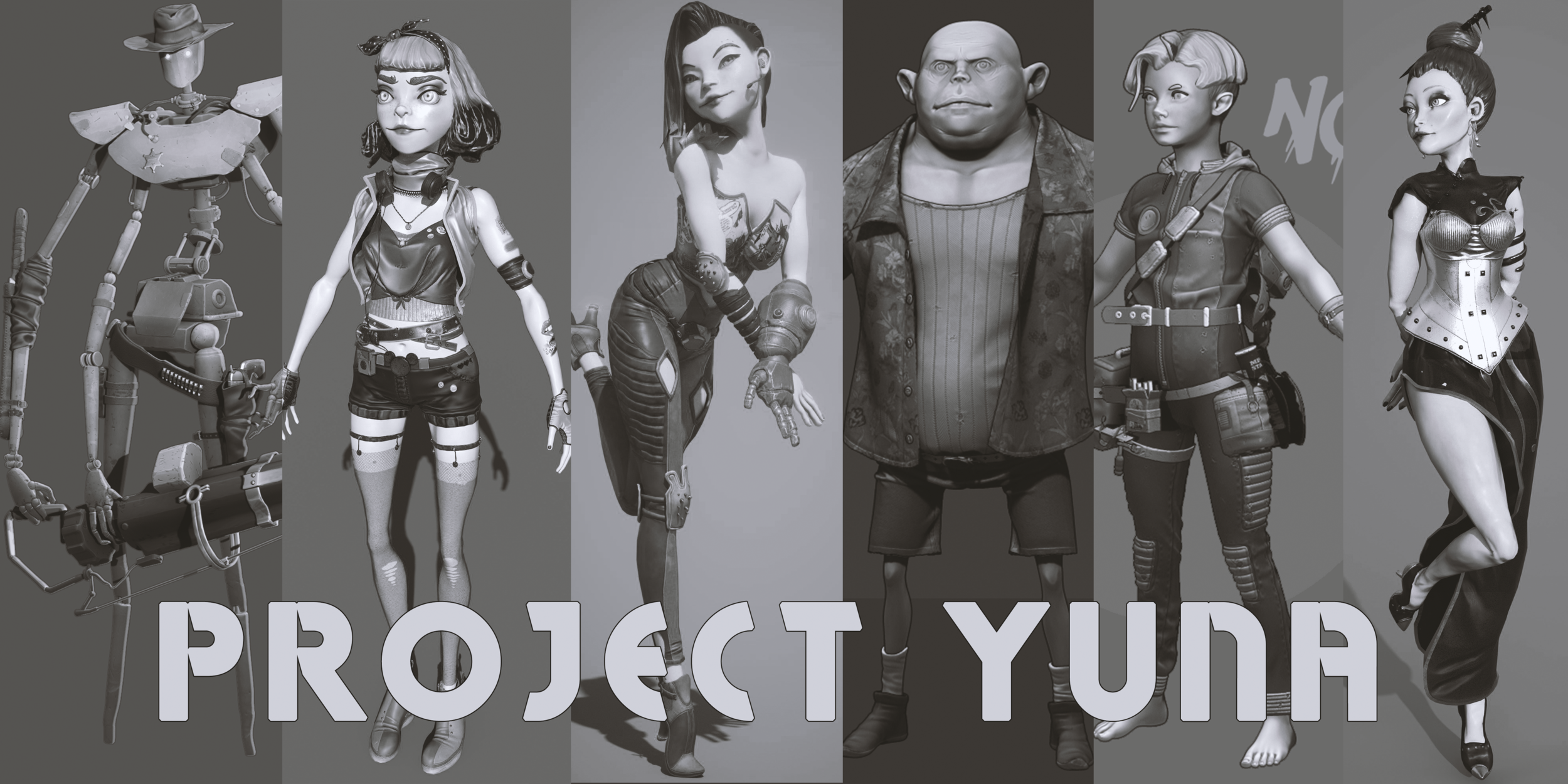 Our characters: Mike, Lana, Yumi, Junky Kong, Noot, and Lady Mae