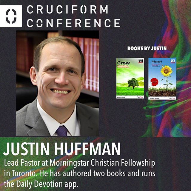 """You do not want to miss @justinohuffman at the #cruciformconference ! Justin is the lead pastor at Morningstar Christian Fellowship in Toronto. He has authored two books and has contributed articles to Dead Men, For the Church, Servants of Grace, Gospel-Centered Discipleship, Fathom Magazine, and Third Millennium. He also publishes """"Daily Devotion"""", which is now a top-rated iTunes/Android app with over half a million downloads. His passion is to help people see the relevance and sufficiency of God's Word for daily living. He and his wife Chau have four children. ————————————— Follow @cruciformconference @justinohuffman ————————————— #jesus #gospel  #theology #bible #biblestudy  #reformed #grace #godliness #community #pastors #preachers #devotion #doctrine #christ #godly #truth #truthbomb #quote #godlyquote #scripture #crtvchurch #humblecalvinism #esv #nasb #cruciformcon #cruciformed #cruciform #preachersbible"""