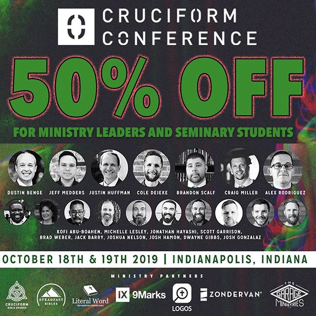 We believe the local church is the conduit by which Jesus Christ is reconciling all things to himself! If you are in ministry or preparing for ministry we want you to be here, therefore we have cut the price in half in hopes this will make it easier for you to attend! Hope to see you there! Visit cruciformconference.com for tickets! ————————————— Follow @cruciformconference and @dustinwbenge  ————————————— #jesus #gospel  #theology #bible #biblestudy  #reformed #grace #godliness #community #pastors #preachers #devotion #doctrine #christ #godly #truth #truthbomb # #quote #godlyquote #scripture #crtvchurch #humblecalvinism #esv #nasb #cruciformcon #cruciformed #cruciform #preachersbible