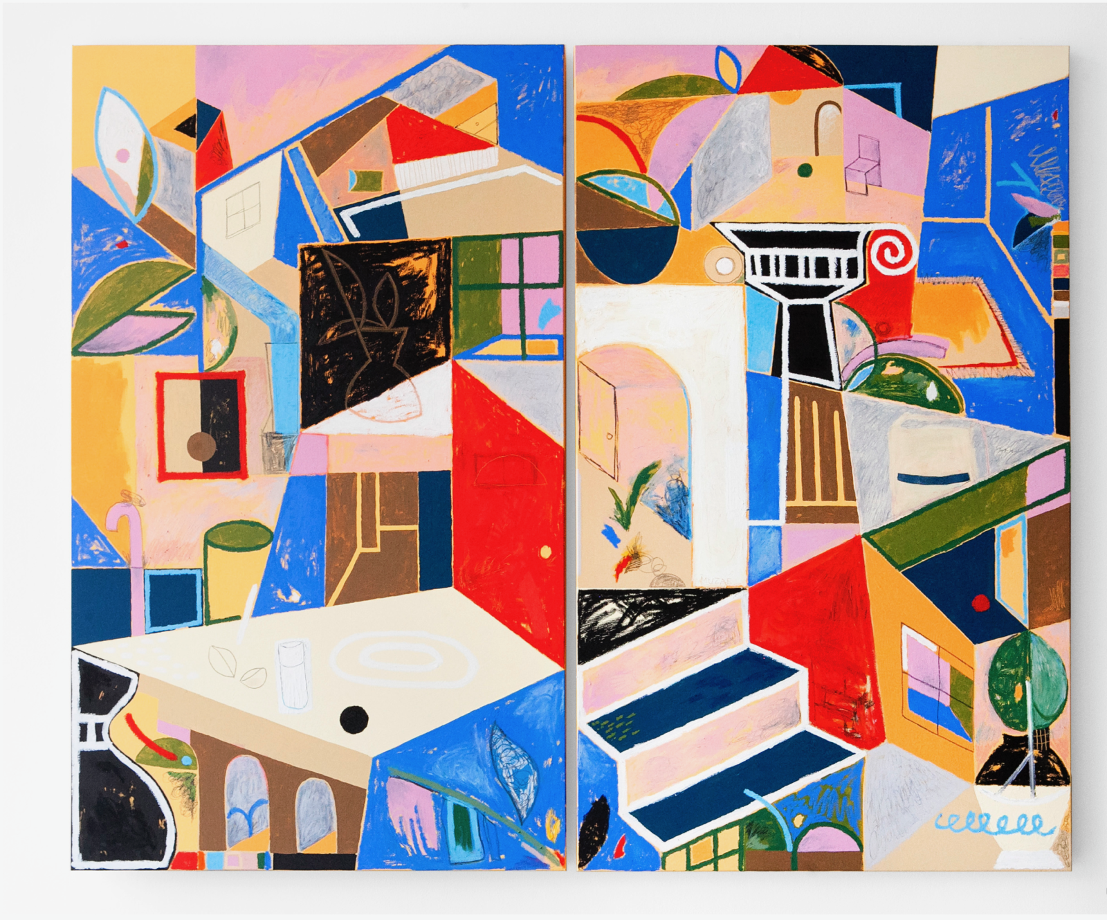 """OUR TEMNE HOUSE    ACRYLIC, OIL, OIL PASTEL, AND GRAPHITE ON CANVAS    60"""" X 72"""" DIPTYCH"""