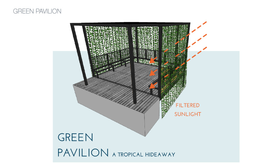 A gym deck was designed to resemble a nest, a place to meditate, rest and hide away. Nylon cables allow for climbing plants to create a green cover. This green walls shelters the space from direct sunlight..