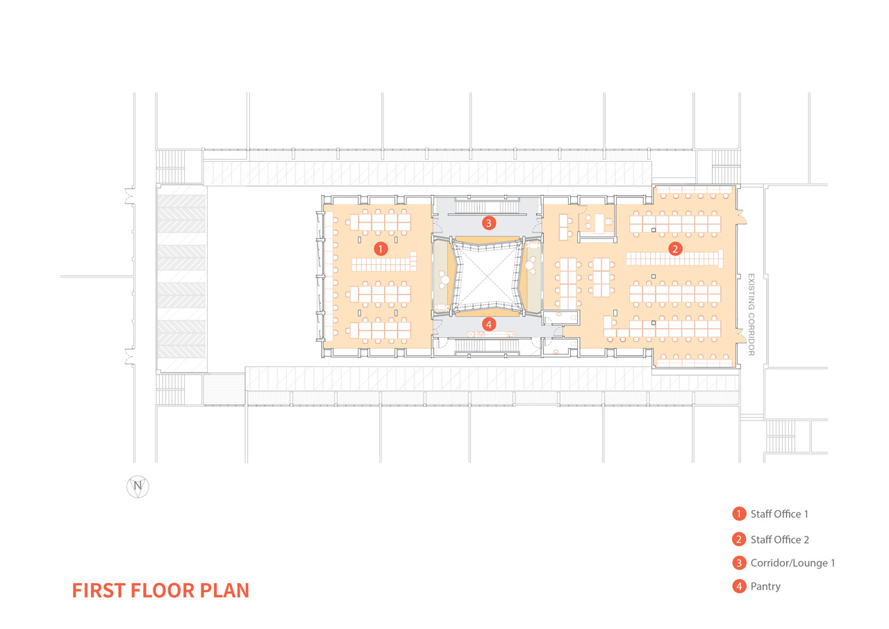 The first and second floors continue to make use of the three cube layout as it's general space arrangement.  The first and third cube flank the centre courtyard space, which is the void in the centre of the building.