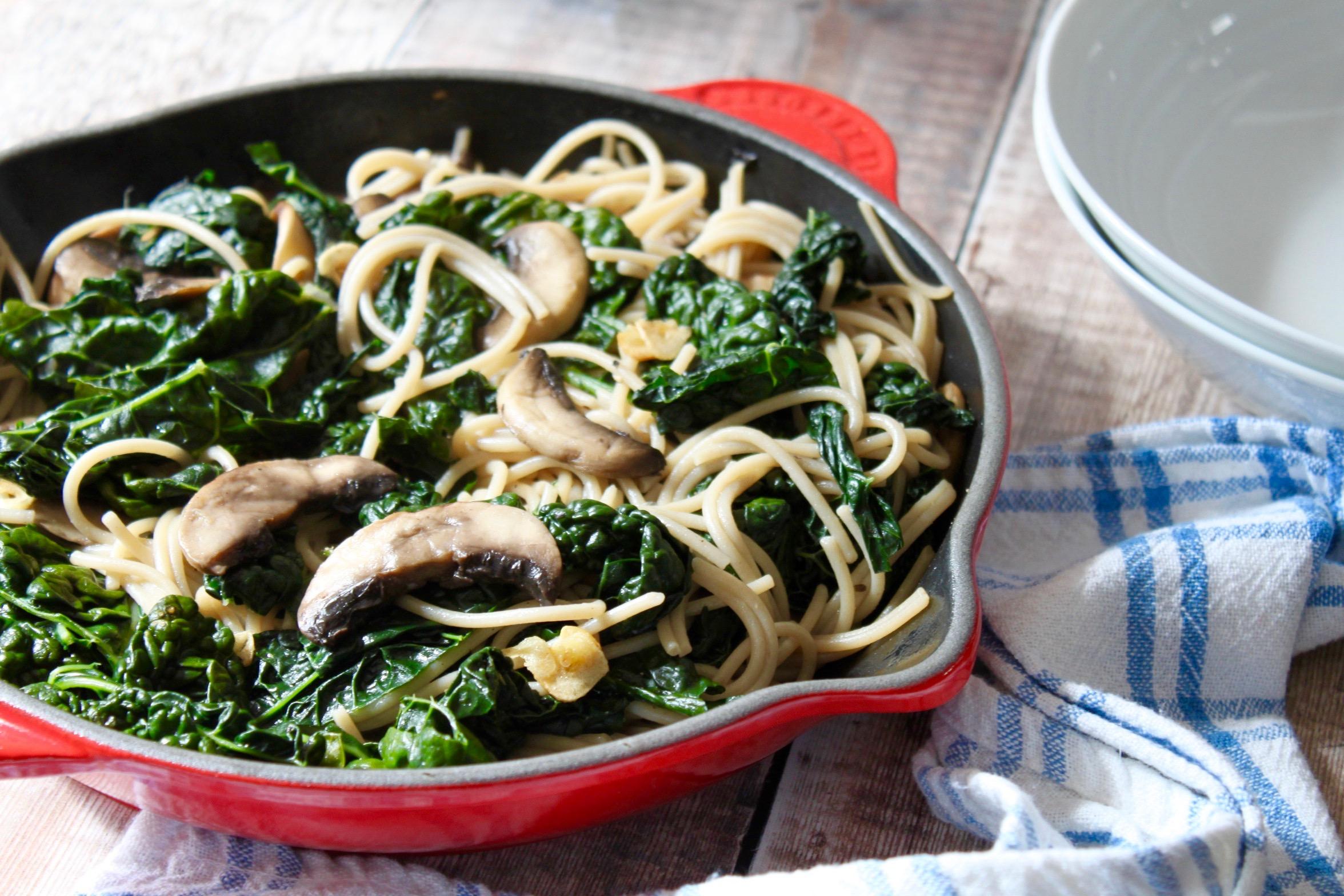 Spaghetti with Cavolo Nero, Mushrooms & Crispy Garlic