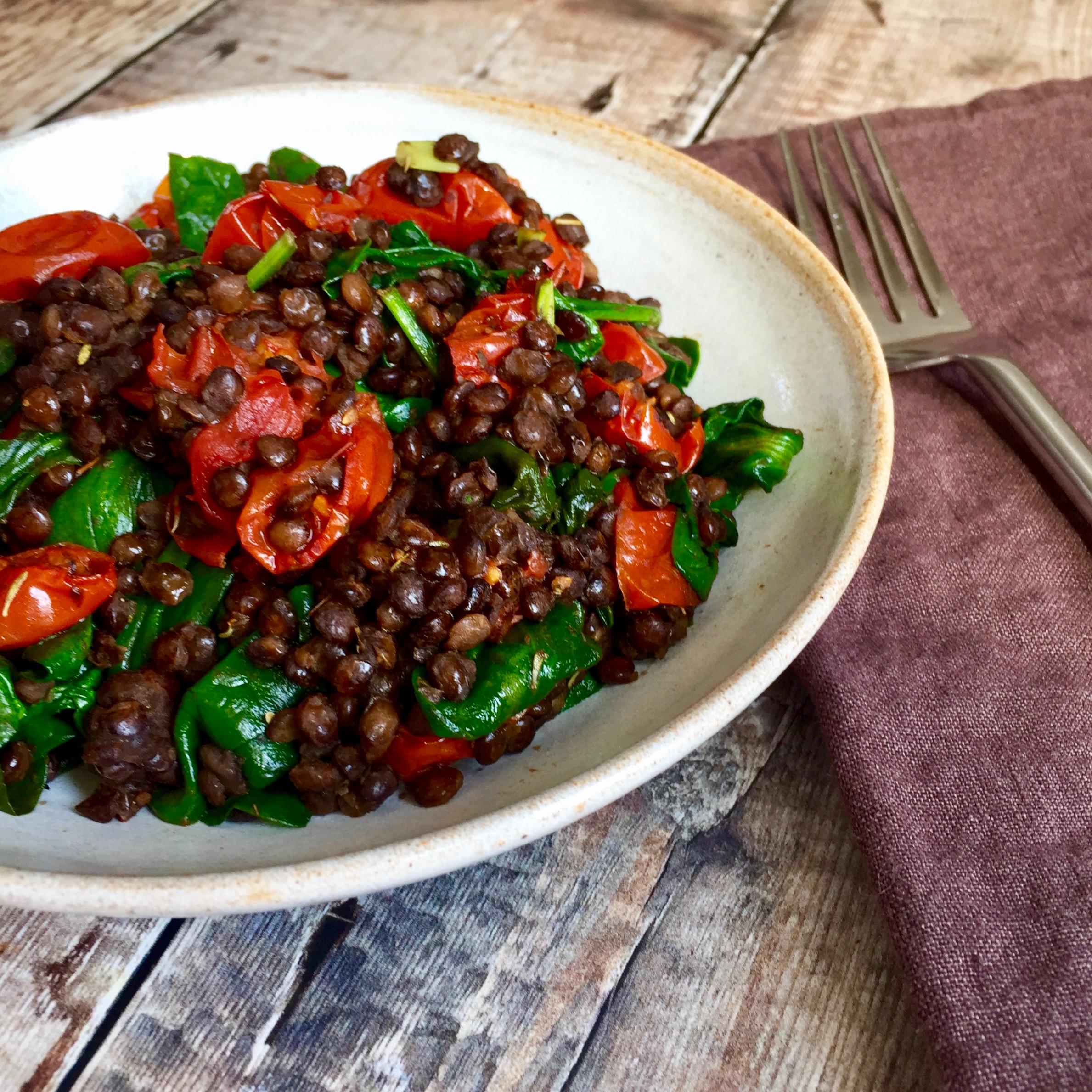 Puy Lentil, Spinach & Roast Tomato Salad