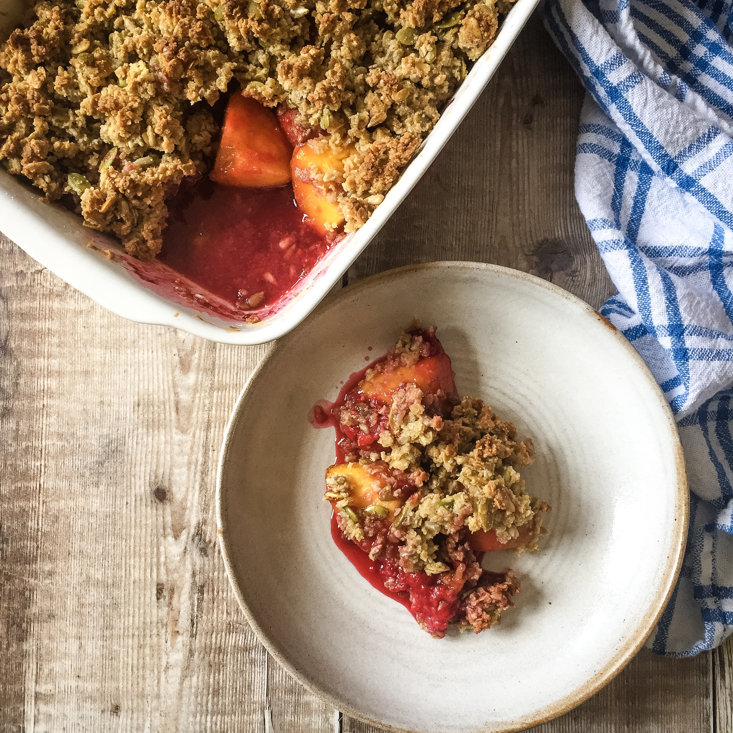 Peach & Raspberry Crumble